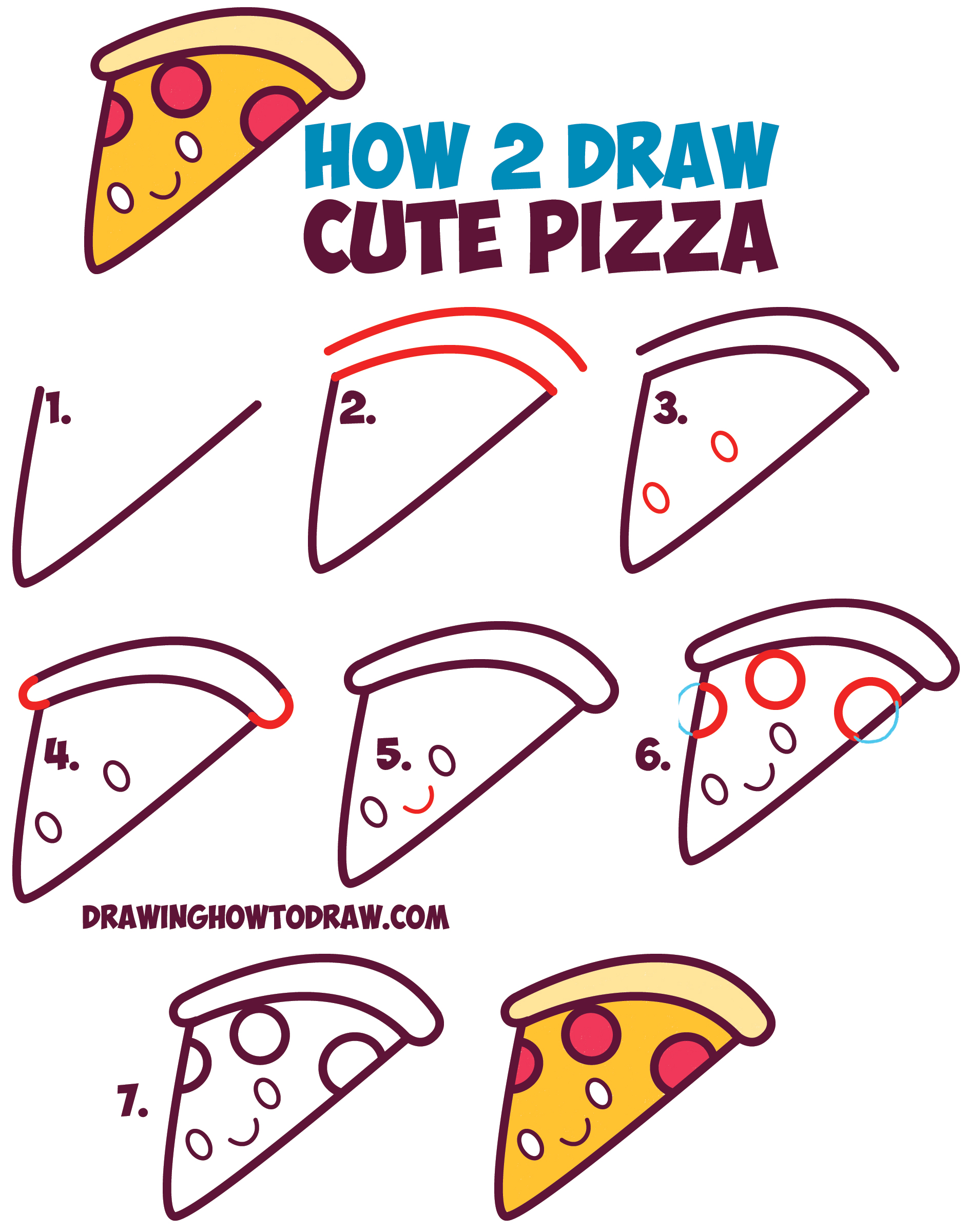 How to draw cute kawaii pizza slice with face on it easy for Good drawing tutorials for beginners