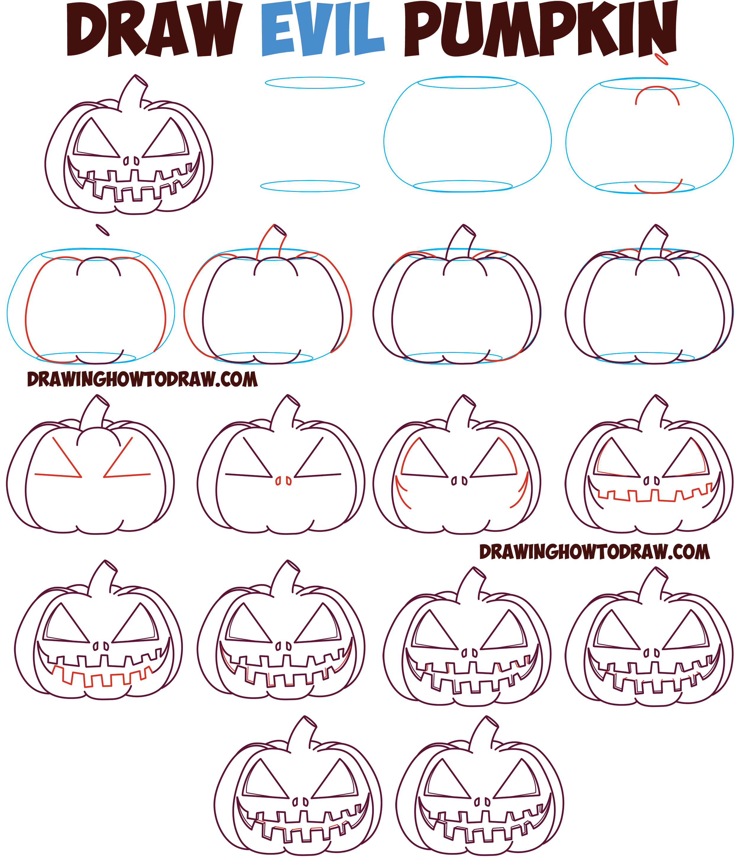 How to Draw Cartoon Pumpkin / Jack O'Lantern : Evil, Angry Zipper Mouth, Cut Mouthed Pumpkin