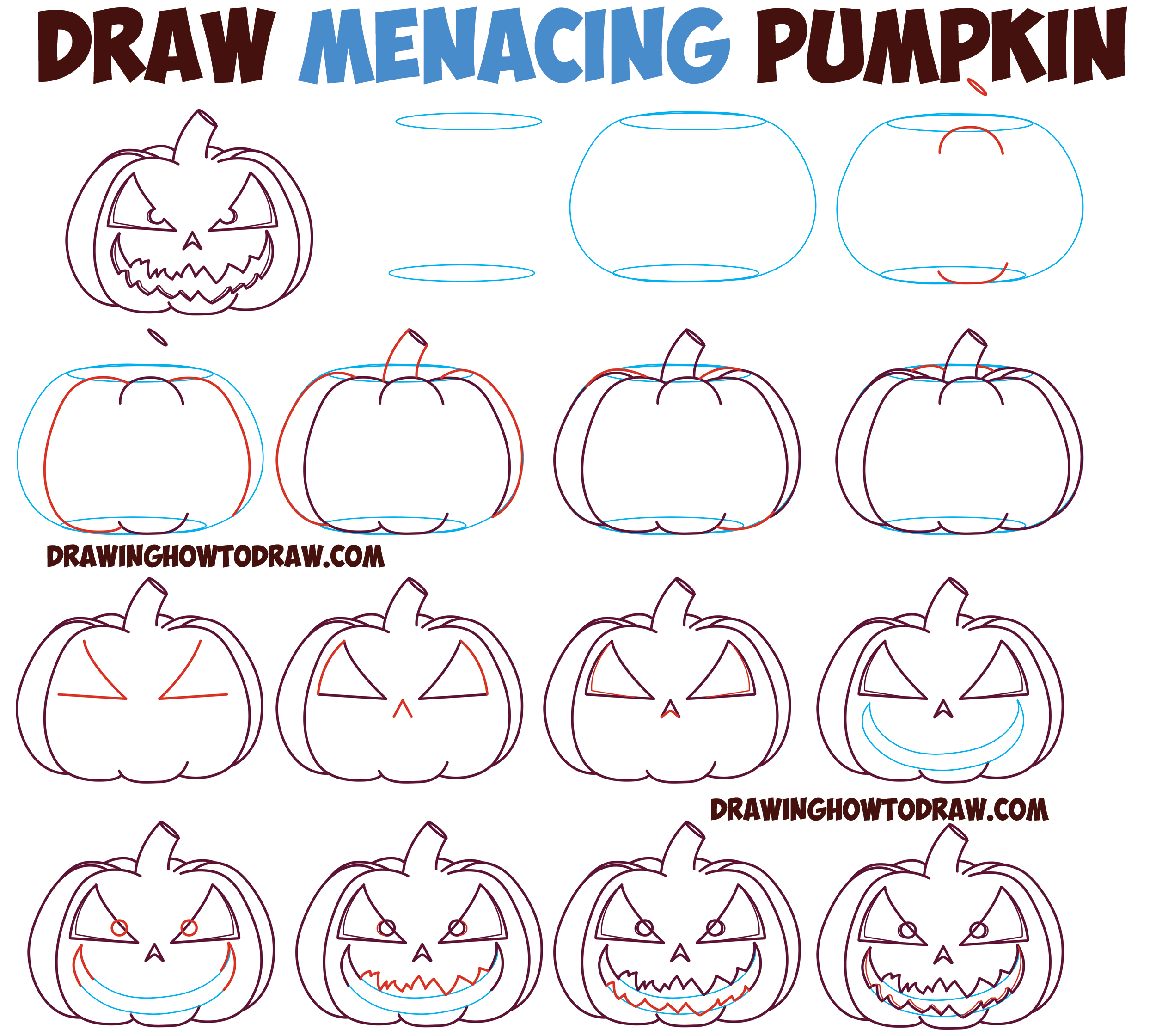 How to Draw Cartoon Pumpkin / Jack O'Lantern : Evil, Angry, Creepy Pumpkin