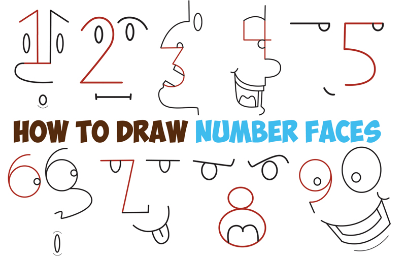 How to draw cartoon faces from numbers 1 9 easy step by step drawing tutorial for kids how to draw step by step drawing tutorials