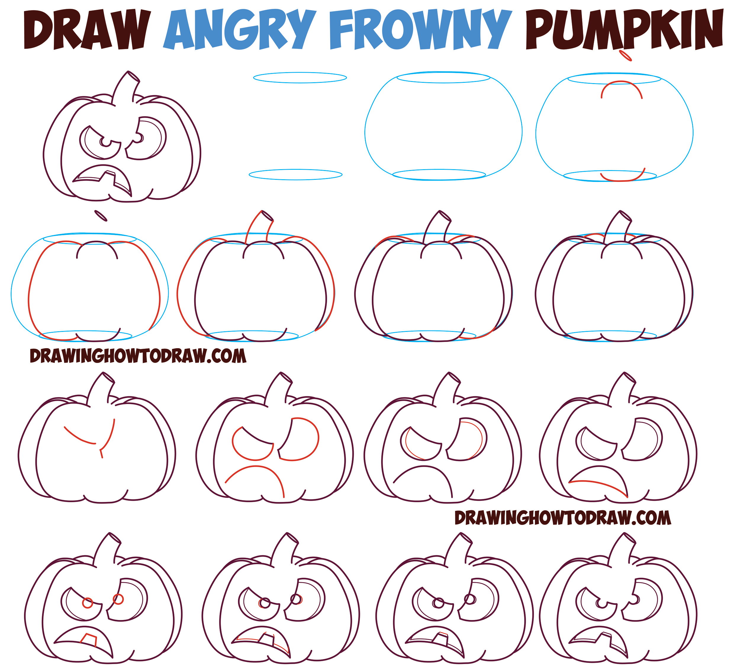 How to Draw UnHappy Frowning Pumpkin Faces / Jack O'Lanterns