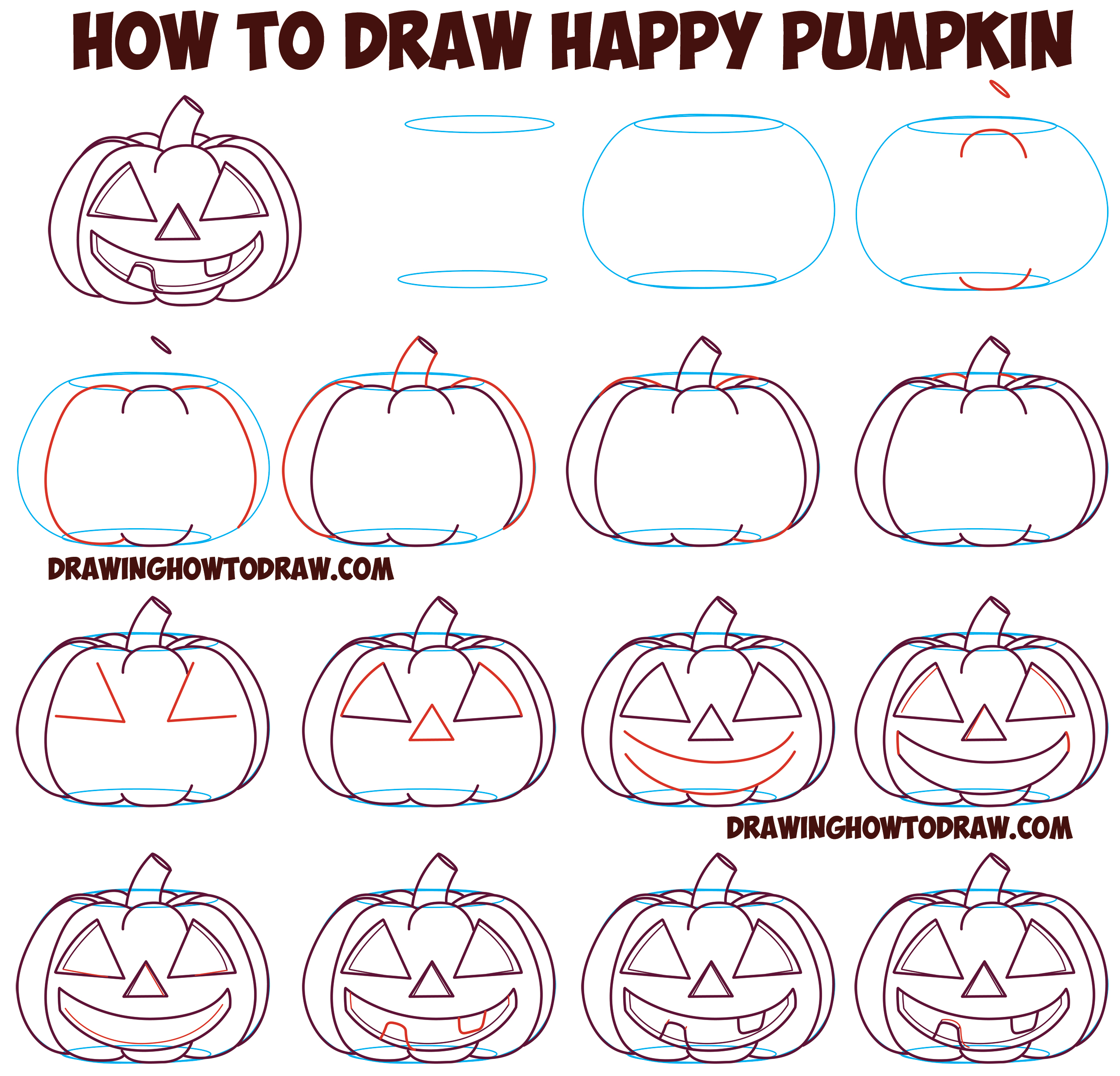 How to Draw Cartoon Pumpkin / Jack O'Lantern : Happy, Smiling with Teeth