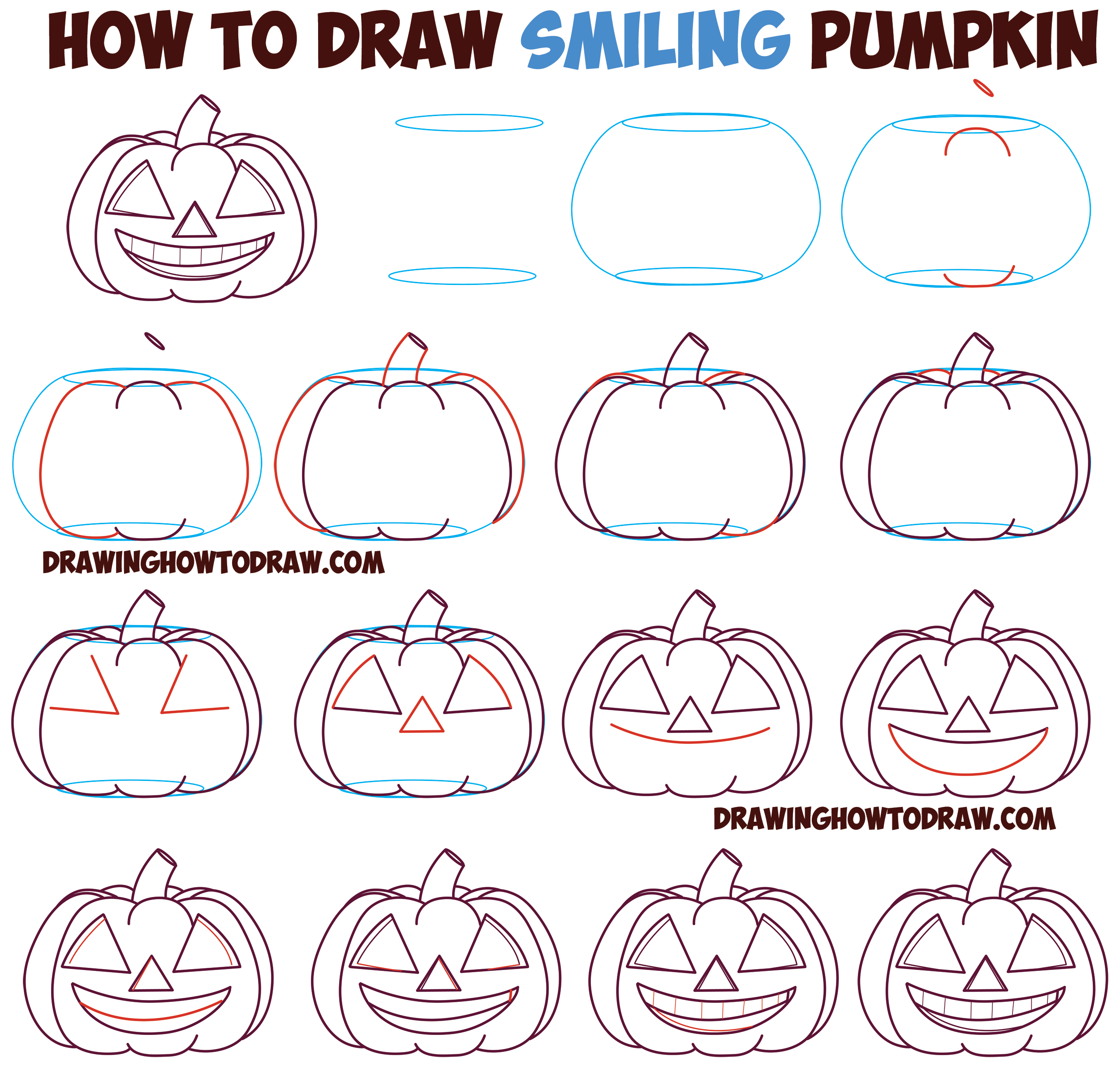 How to Draw Cartoon Pumpkin / Jack O'Lantern : Happy, Grinning with Full Mouth of Teeth