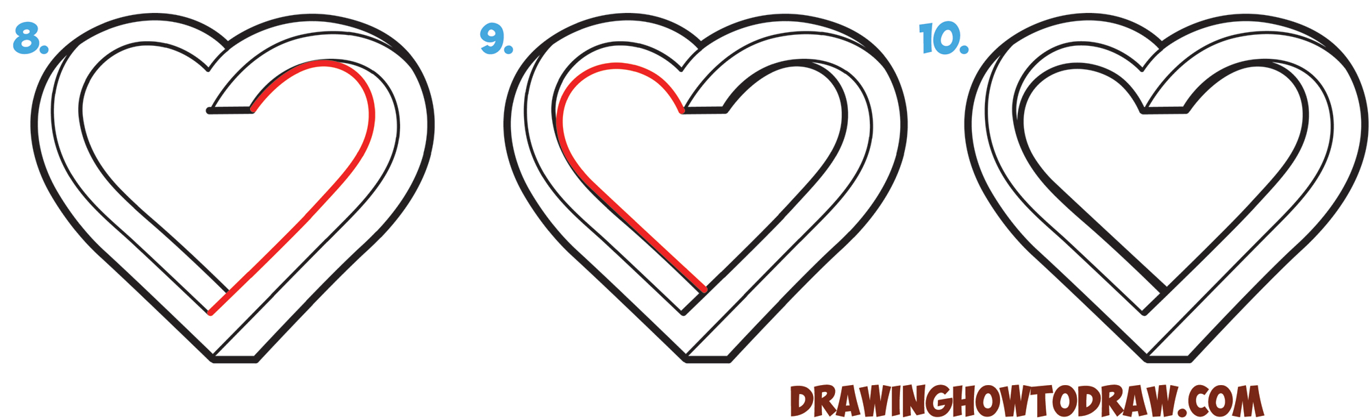 How to Draw Impossible Hearts - Simple Steps Drawing Lesson for Kids and for Beginners