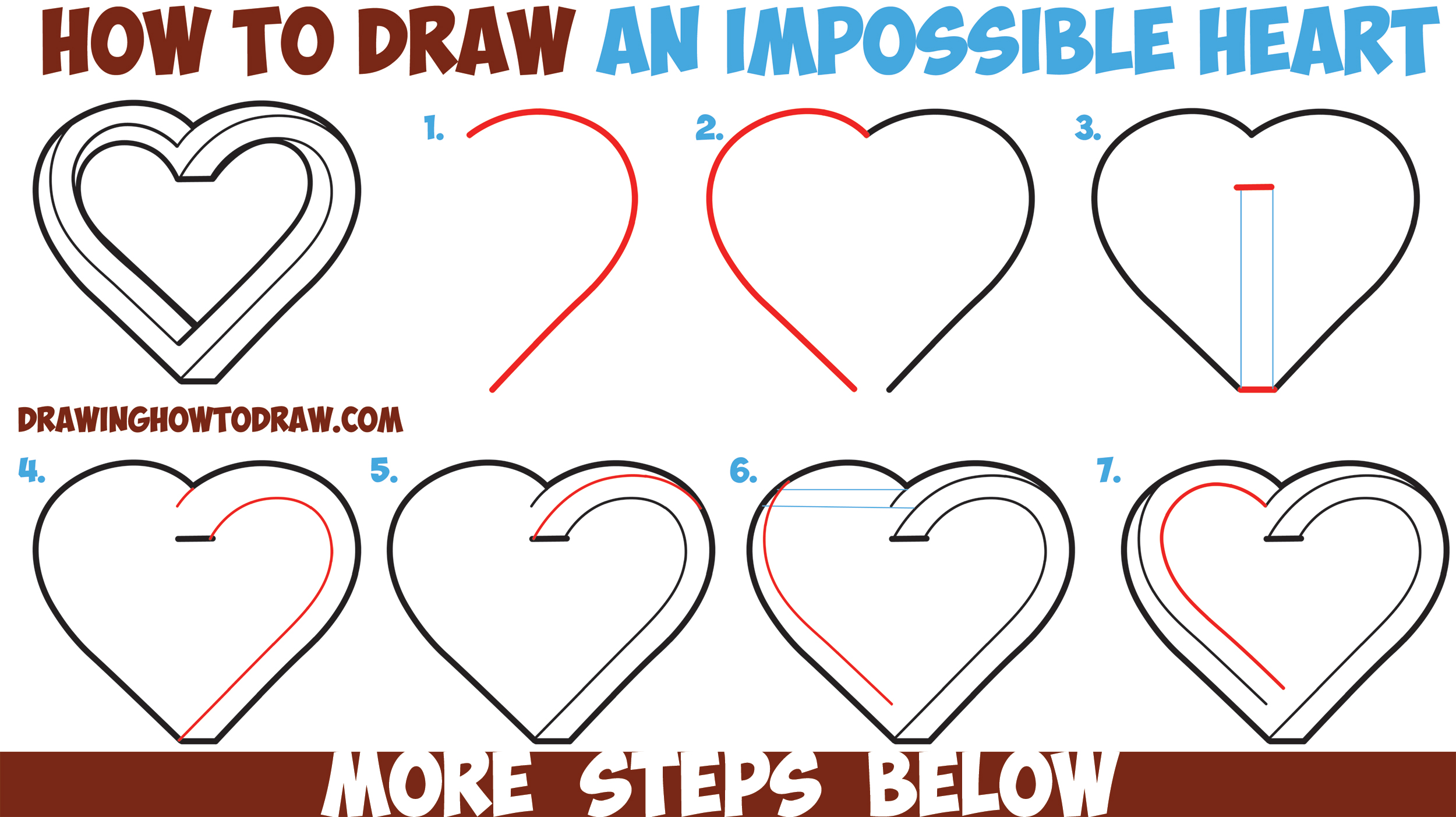 How to draw an impossible heart easy step by step for Things to draw for beginners step by step