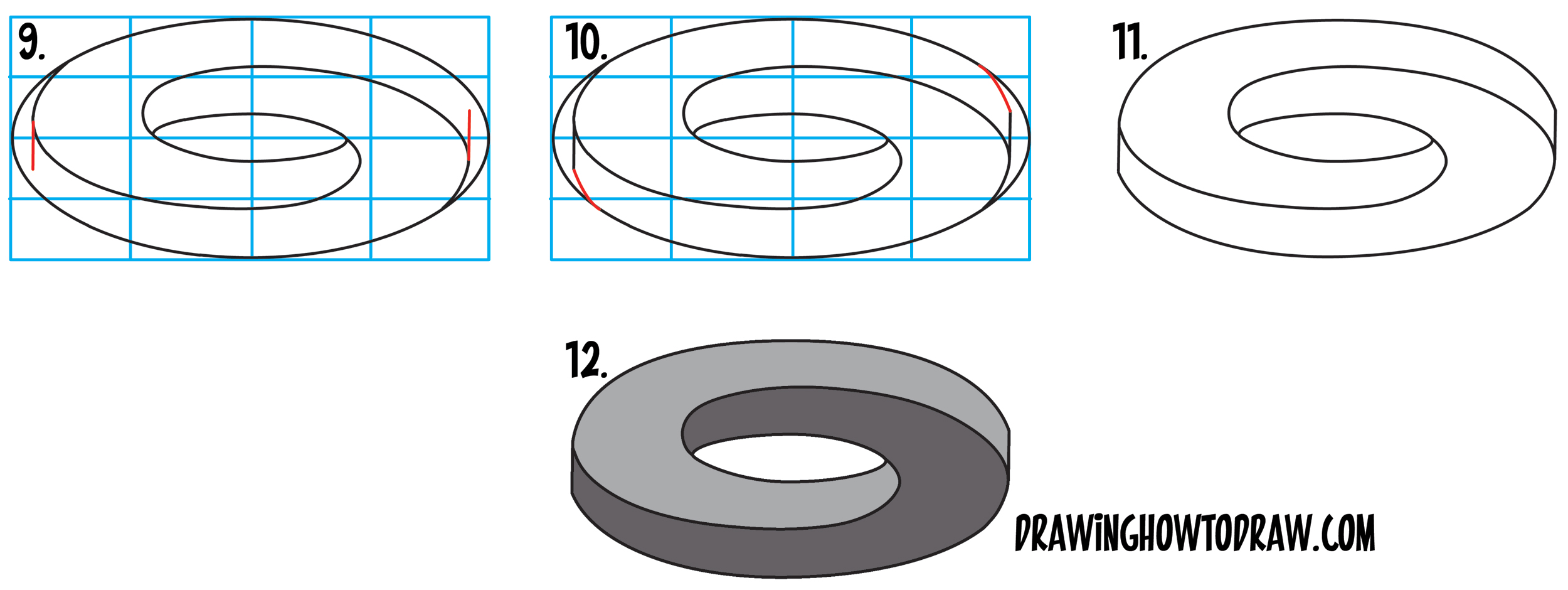 Learn How to Draw an Impossible Oval / Mobius Strip / Möbius Strips in Simple Steps Drawing Lesson for Beginners