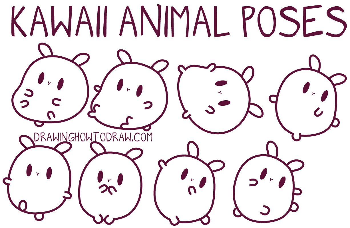 how to draw kawaii style animals and critters and characters in different bodies and poses
