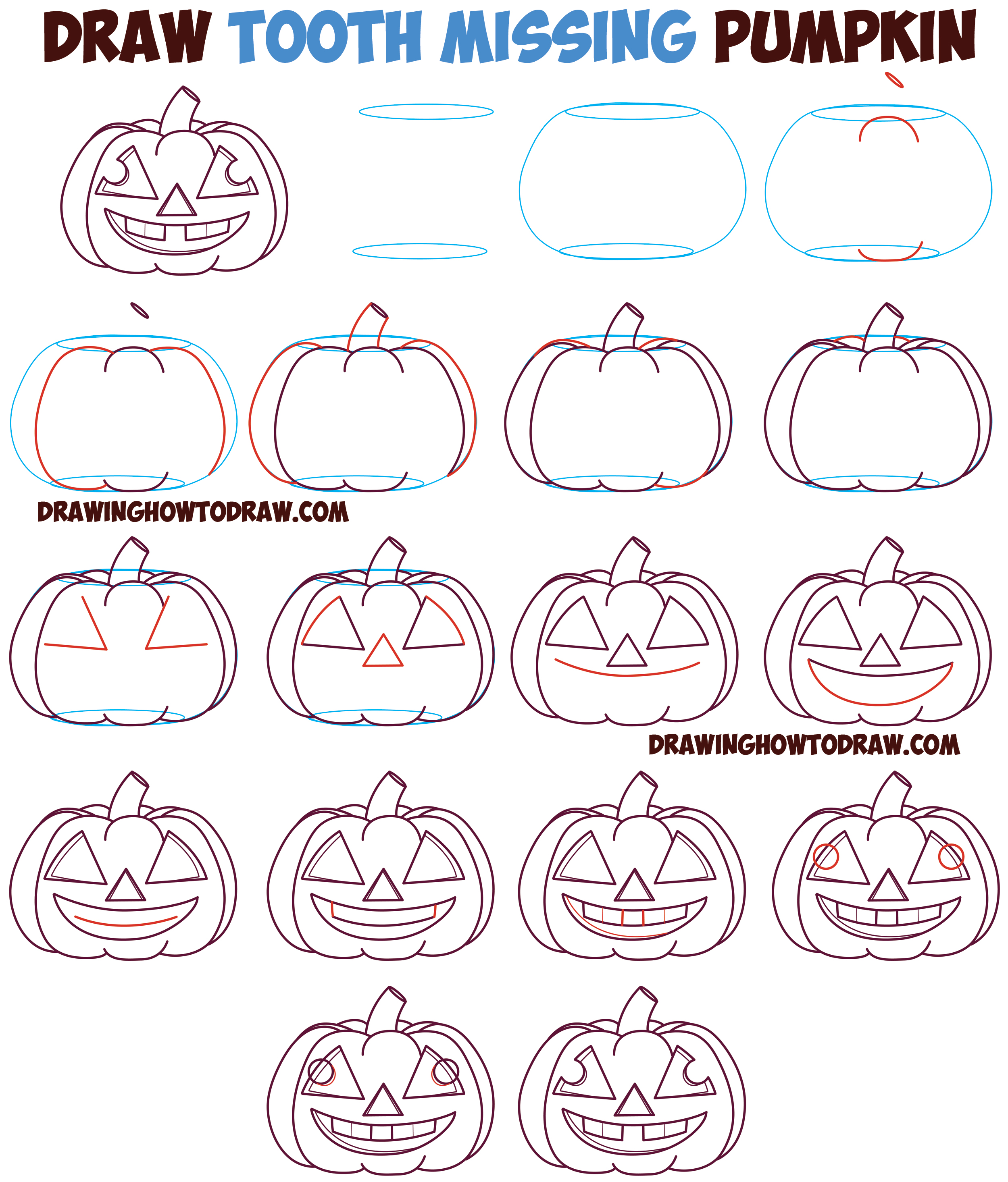 How to Draw Cartoon Pumpkin / Jack O'Lantern : Happy, Smiling with Tooth Missing and Crazy Eyes