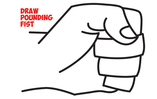 How to Draw Fists Side View Clenched : Drawing Cartoon Pounding Fists : Easy Step by Step Drawing Tutorial