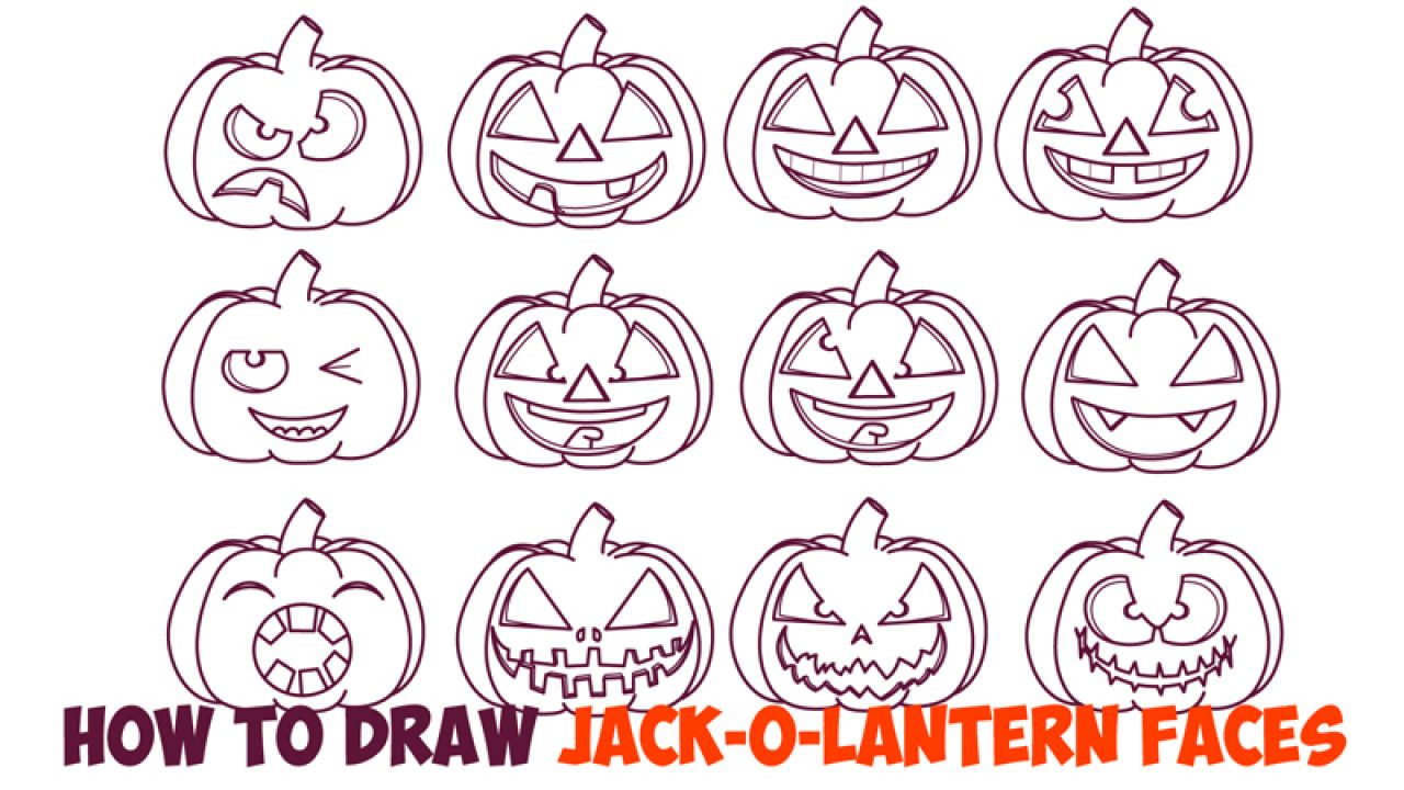 Huge Guide To Drawing Cartoon Pumpkin Faces Jack O Lantern Faces Expressions Emotions Easy Step By Step Drawing Tutorial For Kids On Halloween How To Draw Step By Step