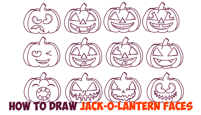 Huge Guide to Drawing Cartoon Pumpkin Faces / Jack O'Lantern Faces & Expressions & Emotions Easy Step by Step Drawing Tutorial for Kids