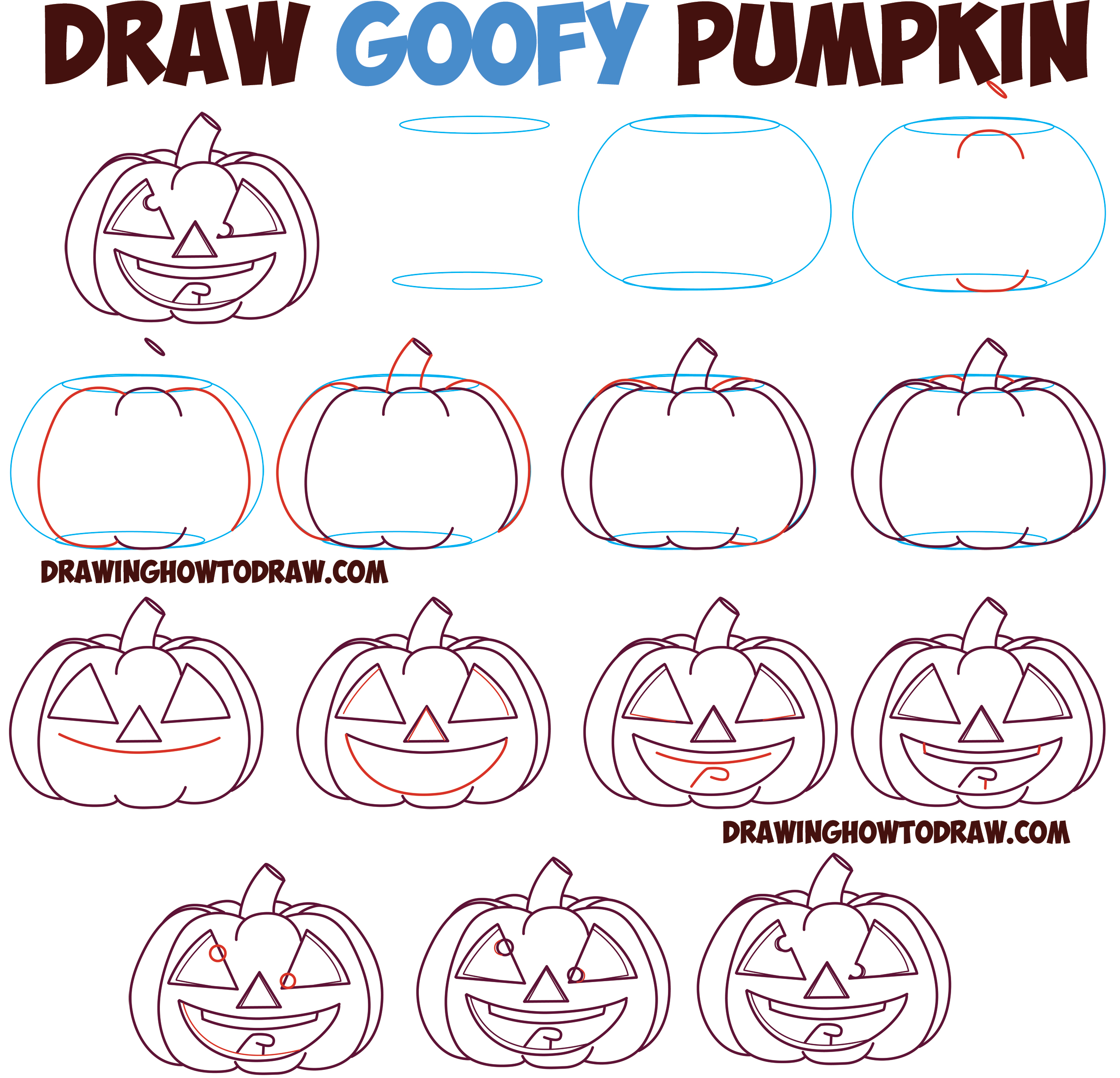 How to Draw Cartoon Pumpkin / Jack O'Lantern : Crazy Googly Eyes with Tongue Out Silly Goofy Pumpkin