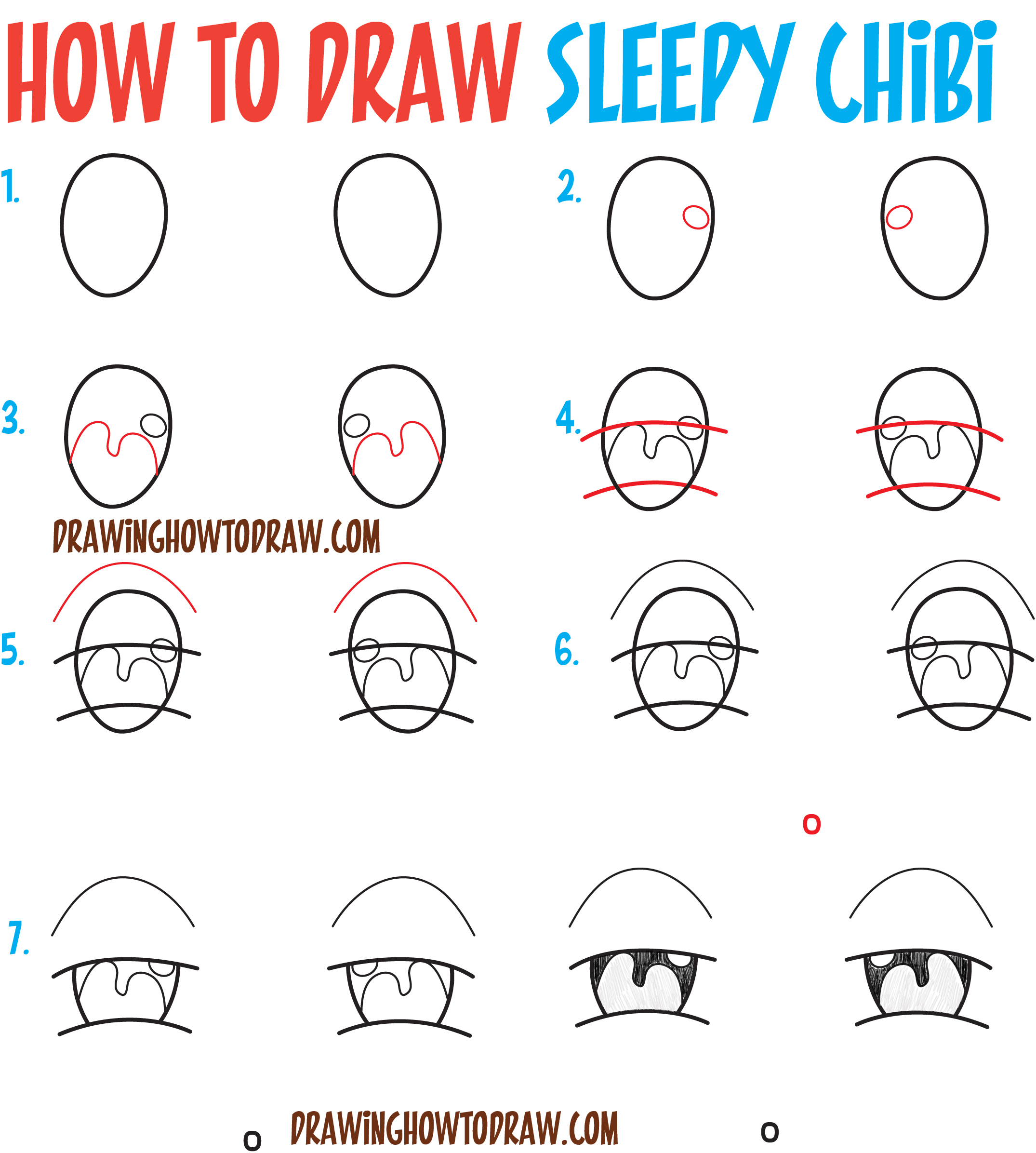 How to Draw Tired / Sleepy / Exhausted Chibi Expressions - Easy Step by Step Drawing Tutorial for Beginners