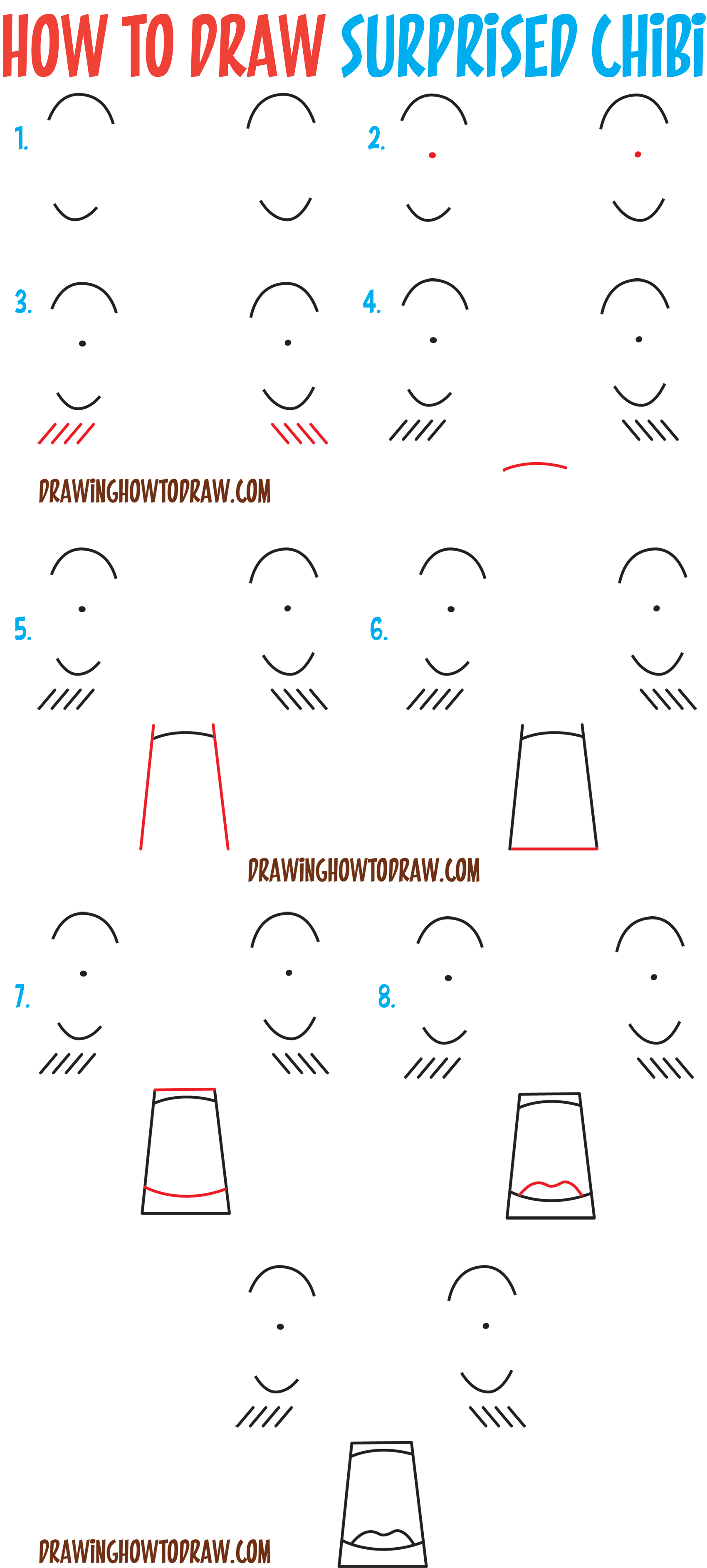 How to Draw Dazed / Confused / Surprised / Shocked / Scared Chibi Expressions and Emotions - Easy Steps Drawing Tutorial for Beginners