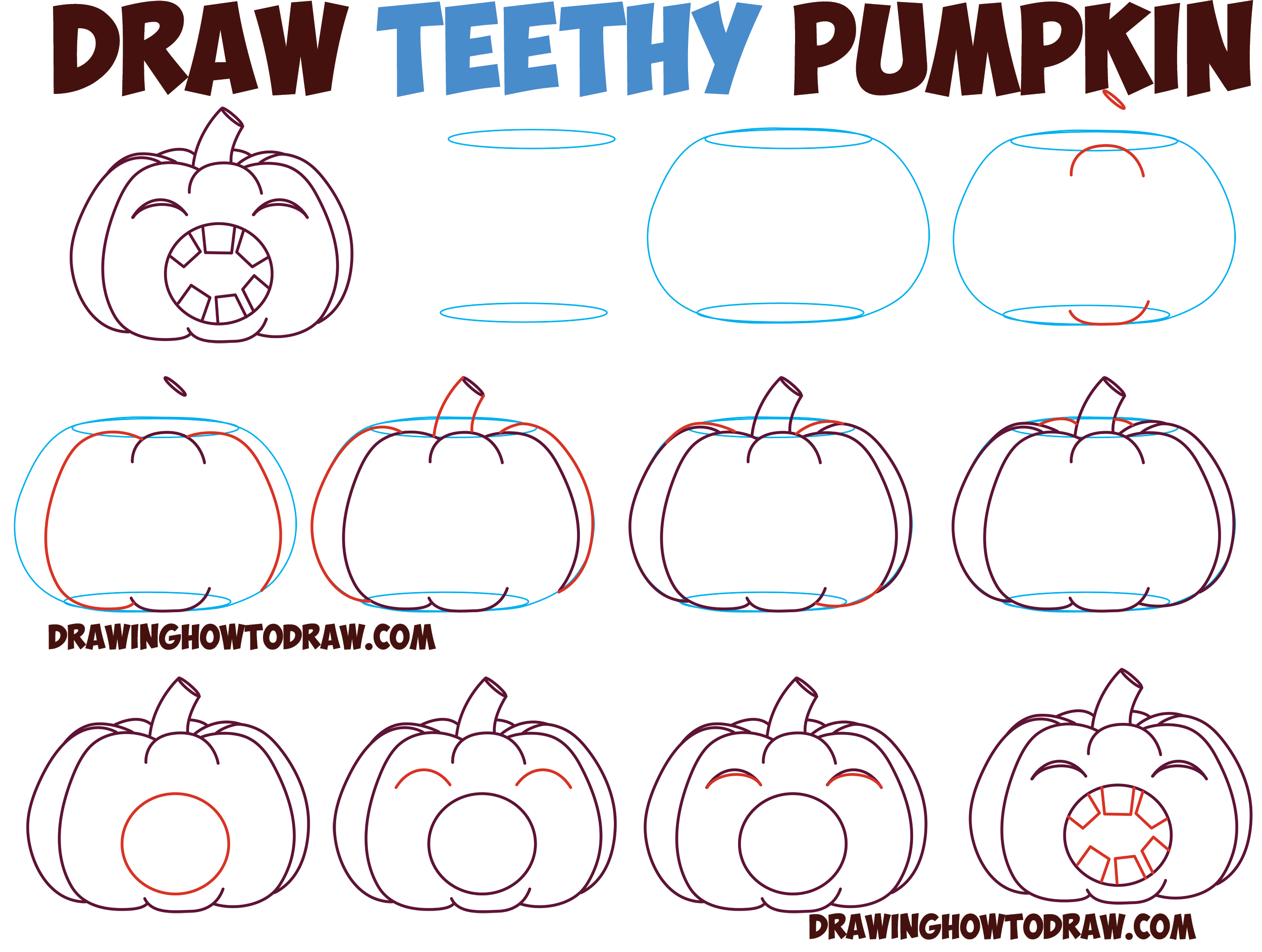 How to Draw Cartoon Pumpkin / Jack O'Lantern : Mouth Wide Open Full of Teeth