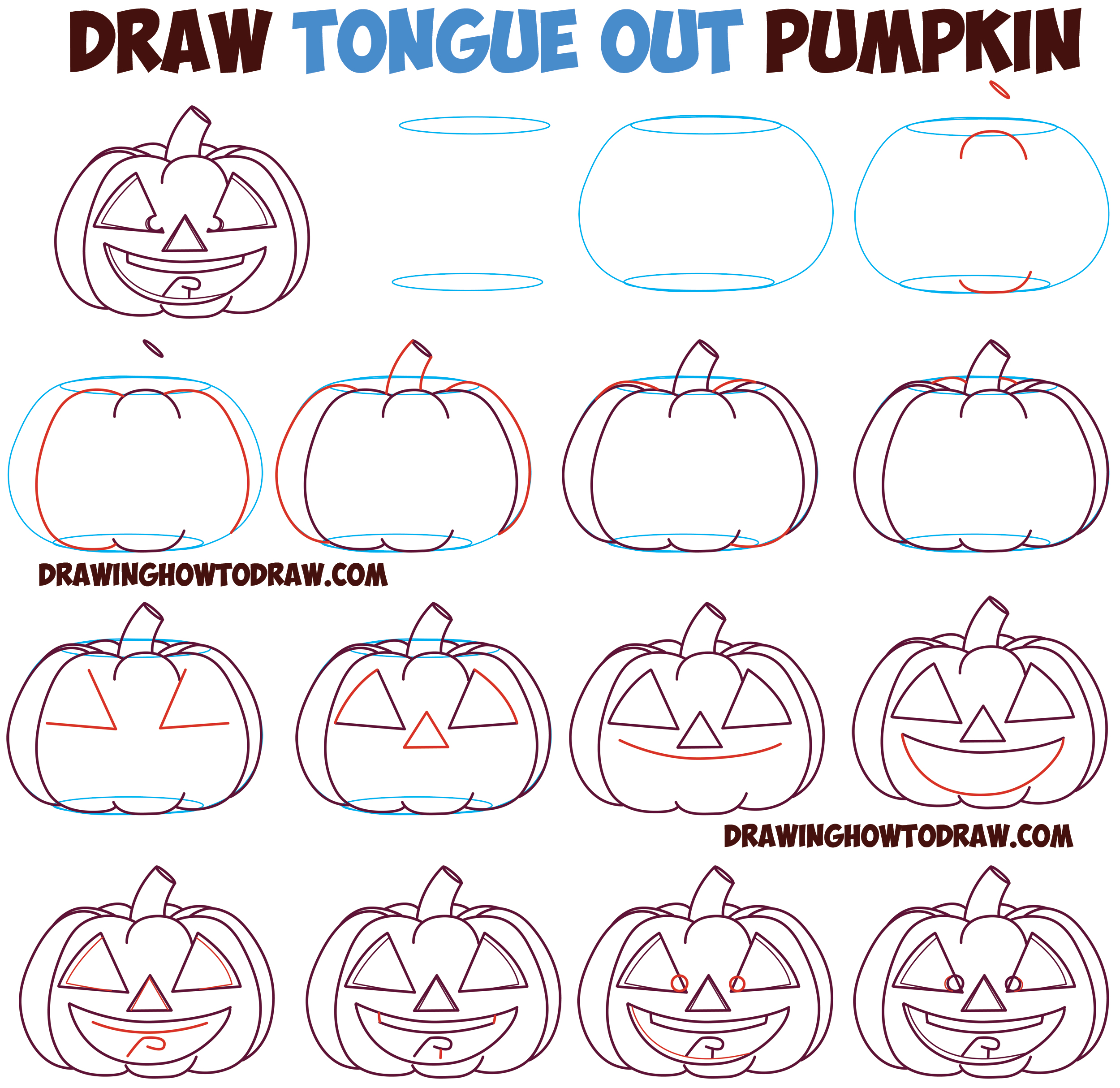 How to Draw Cartoon Pumpkin / Jack O'Lantern : Crossed Eyes with Tongue Out Smiling