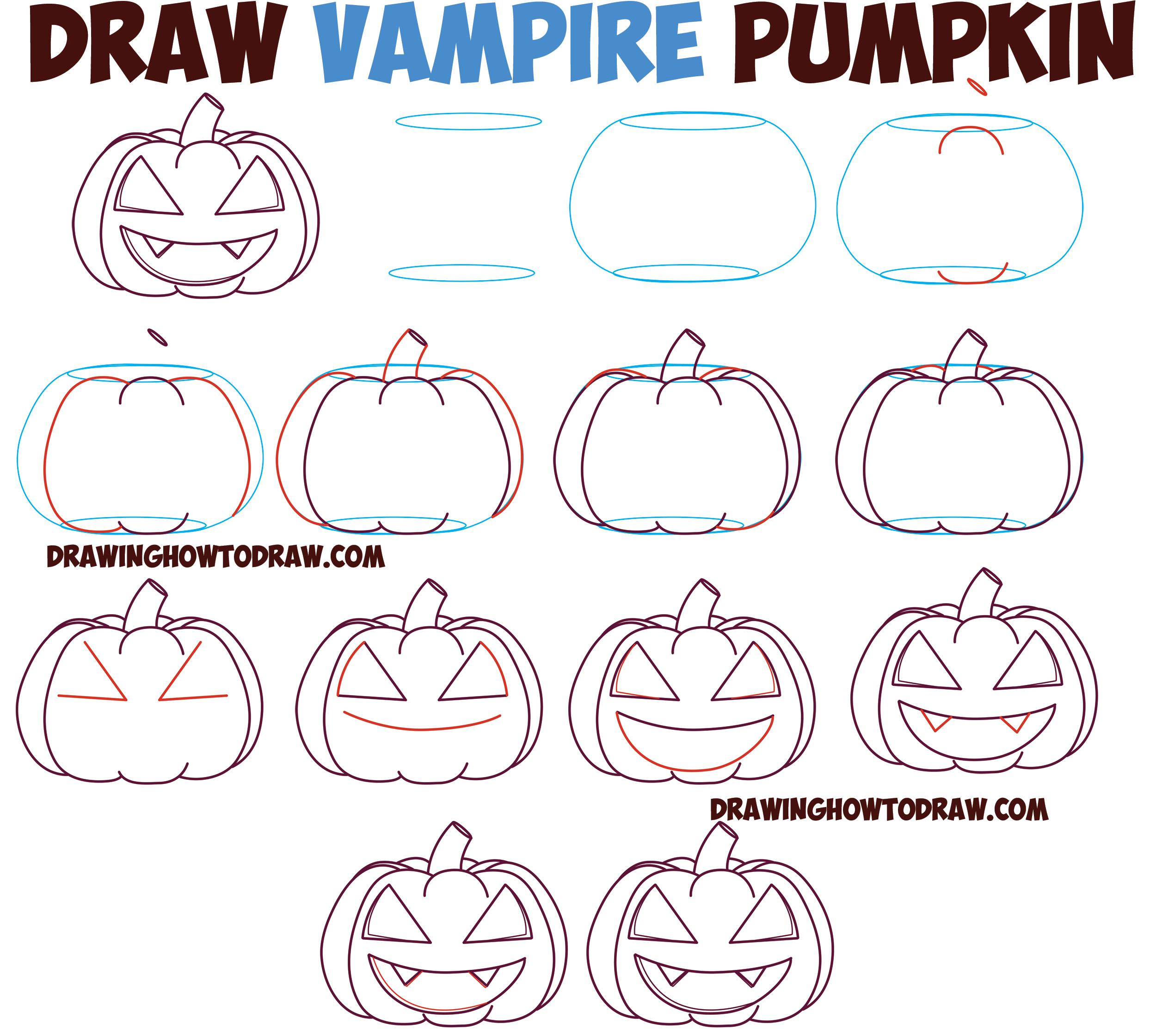 How to Draw Cartoon Pumpkin / Jack O'Lantern : Evil Vampire