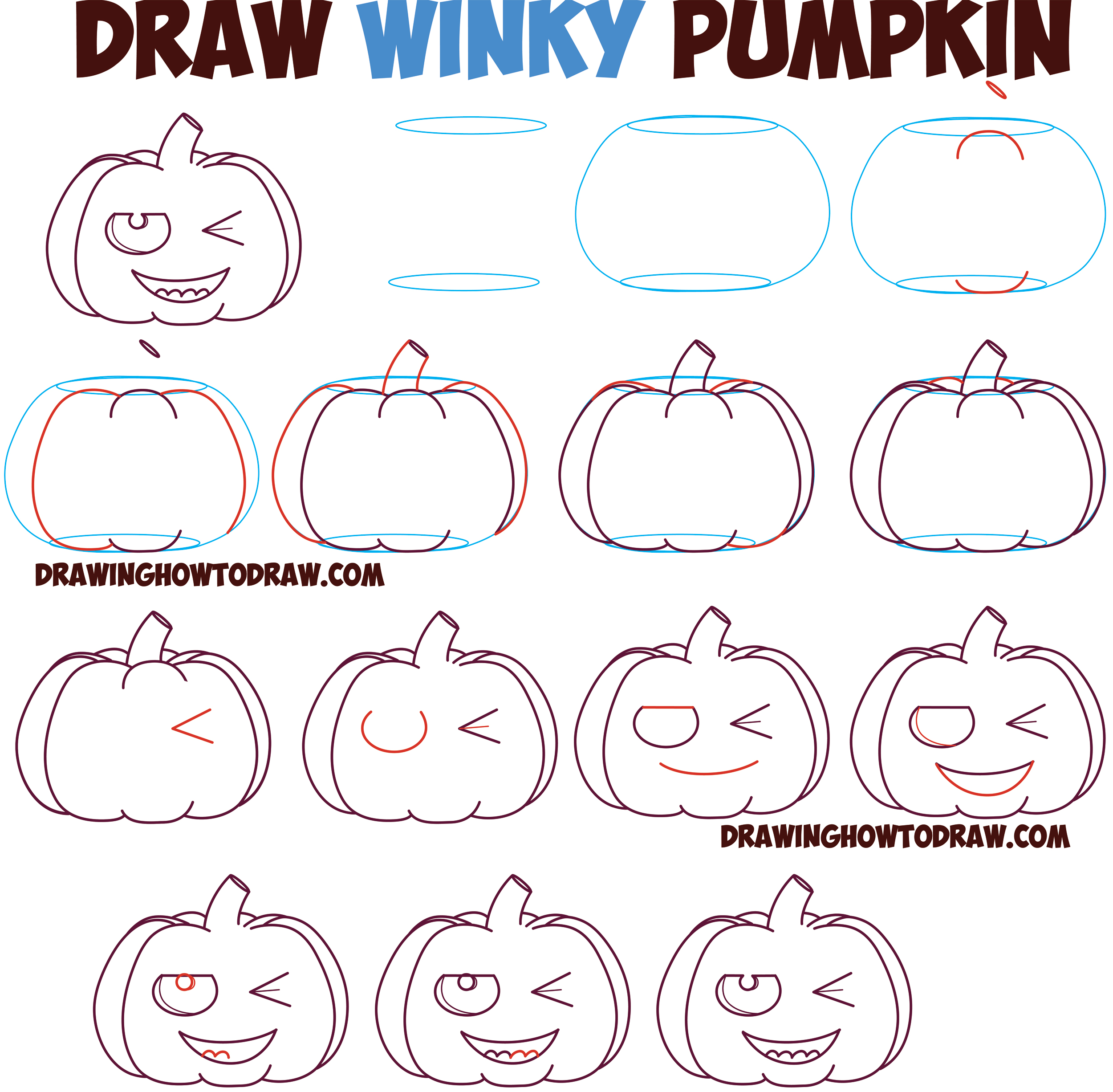How to Draw Cartoon Pumpkin / Jack O'Lantern : Winking Winky Eye Smiling