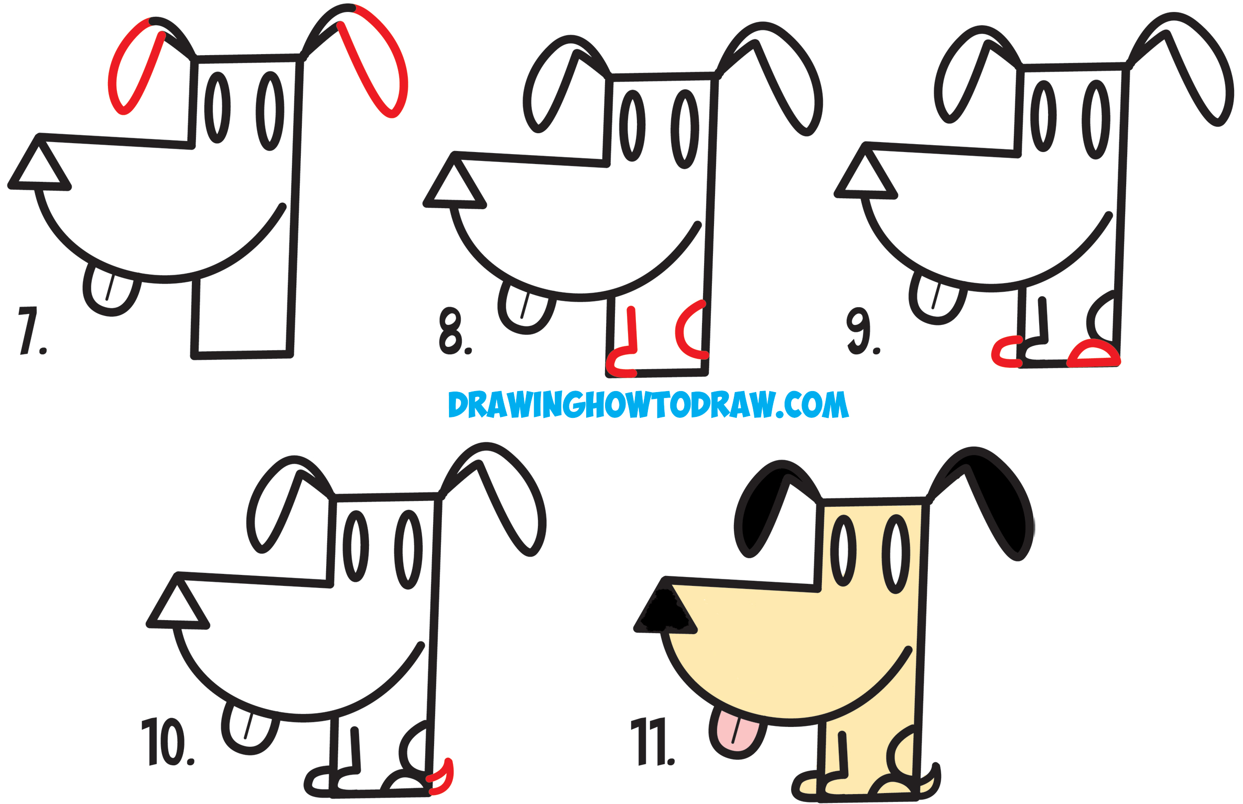 Learn How to Draw a Cartoon Dog from an Arrow Shape - Simple Steps Drawing Lesson for Kids