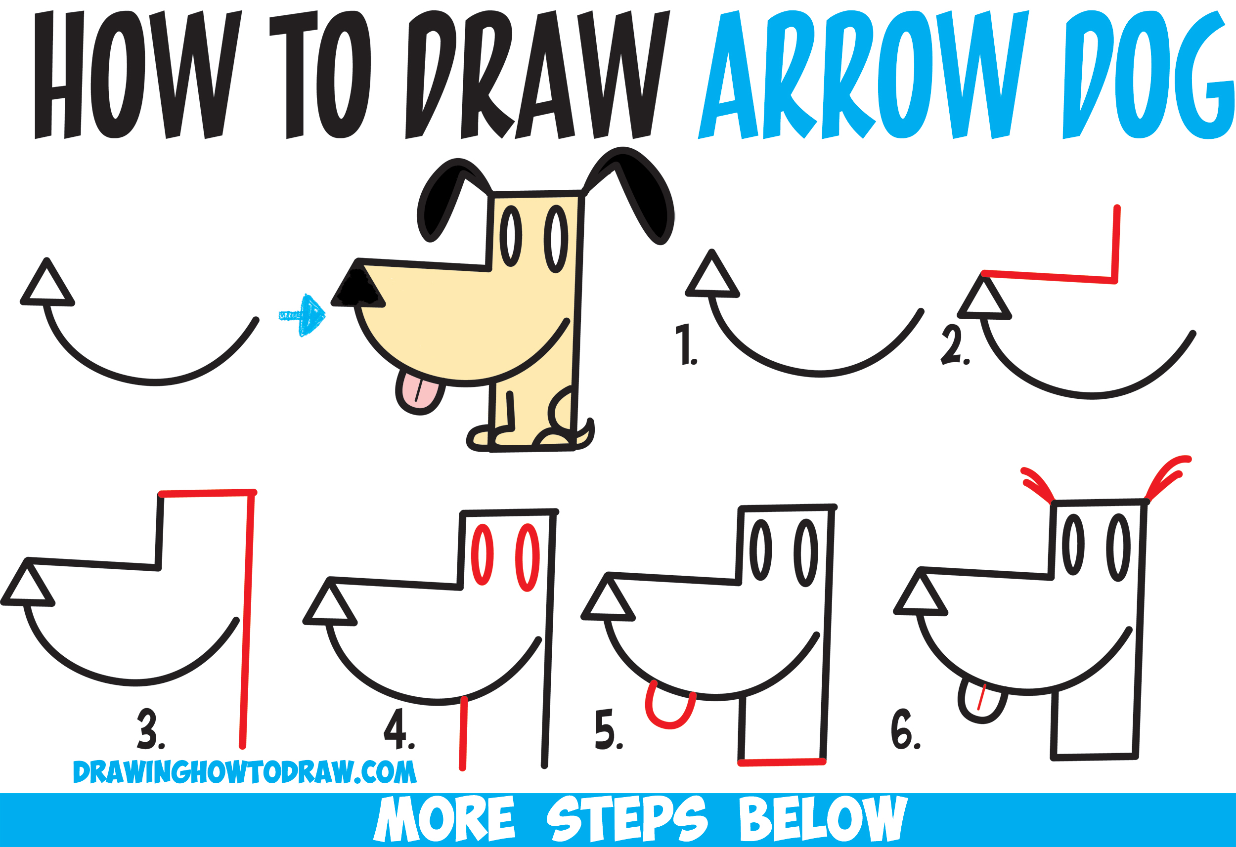 how to draw a cartoon dog from an arrow shape easy step by step drawing