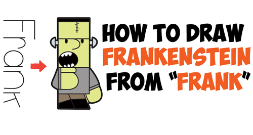 "How to Draw Cartoon Frankenstein's Monster from ""Frank"" Word Cartoons Easy Step by Step Drawing Tutorial for Kids"