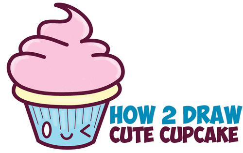 how to draw cute kawaii cupcake with face on it easy step by step drawing tutorial for kids how to draw step by step drawing tutorials - Easy Pictures For Kids To Draw