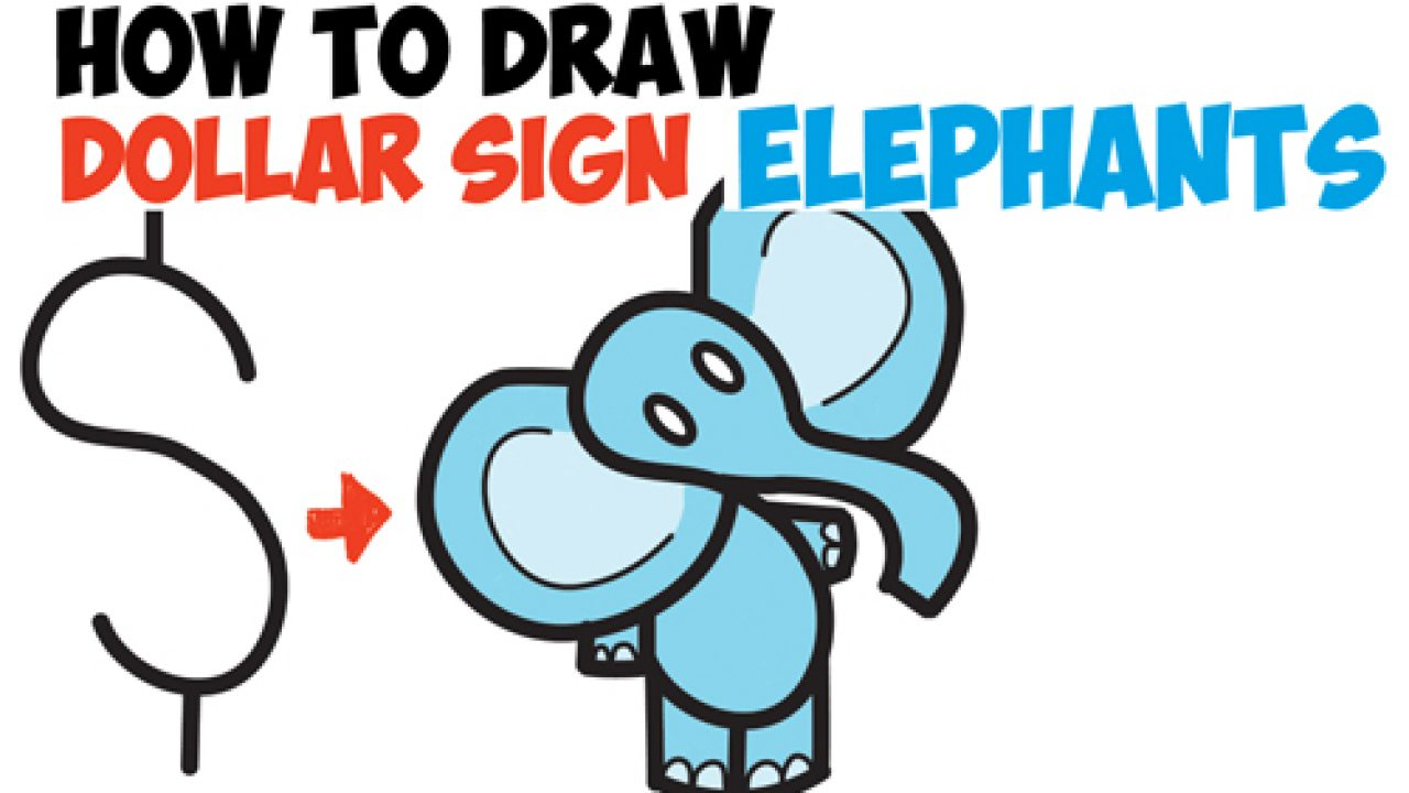 How to Draw Cartoon Elephant from the Dollar Sign - Easy