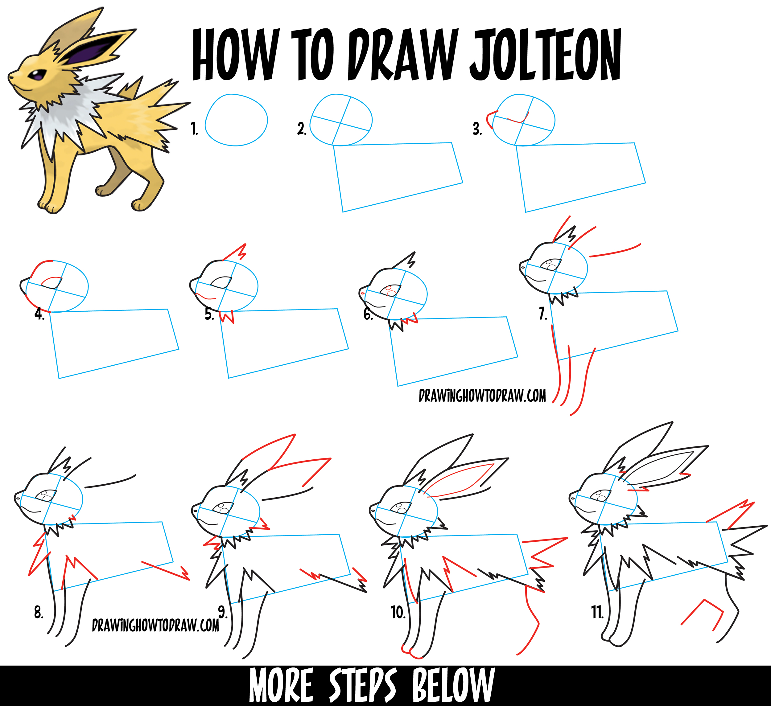 How to Draw Jolteon from Pokemon in Easy Step by Step Drawing Tutorial for Kids