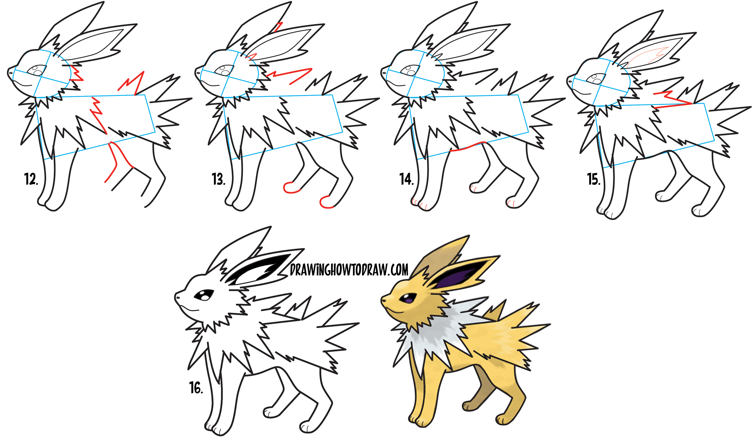How to draw jolteon from pokemon in easy step by step for Learn drawing online step by step