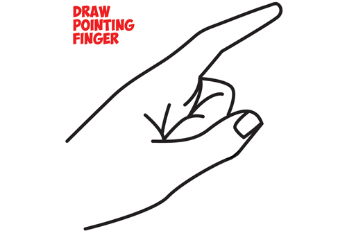 How to Draw a Pointing Hand Side View : How to Draw Cartoon Pointing Fingers - Easy Steps Drawing Tutorial