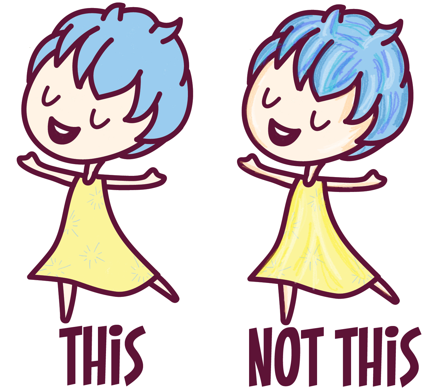 Use Flat Colors - Not Gradients in Kawaii Style Drawings
