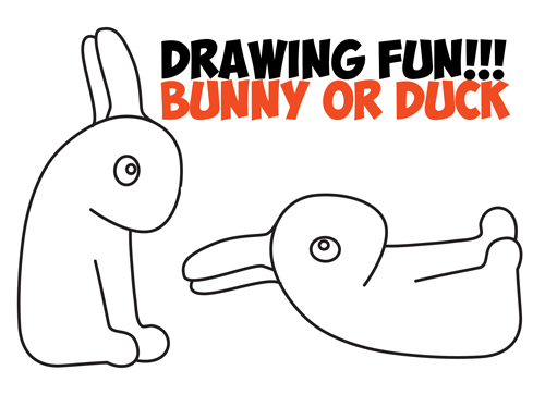 Learn How to Draw an Optical Illusion for Kids - Is it a Duck or Is it a Bunny Rabbit - Simple Steps Drawing Tutorial