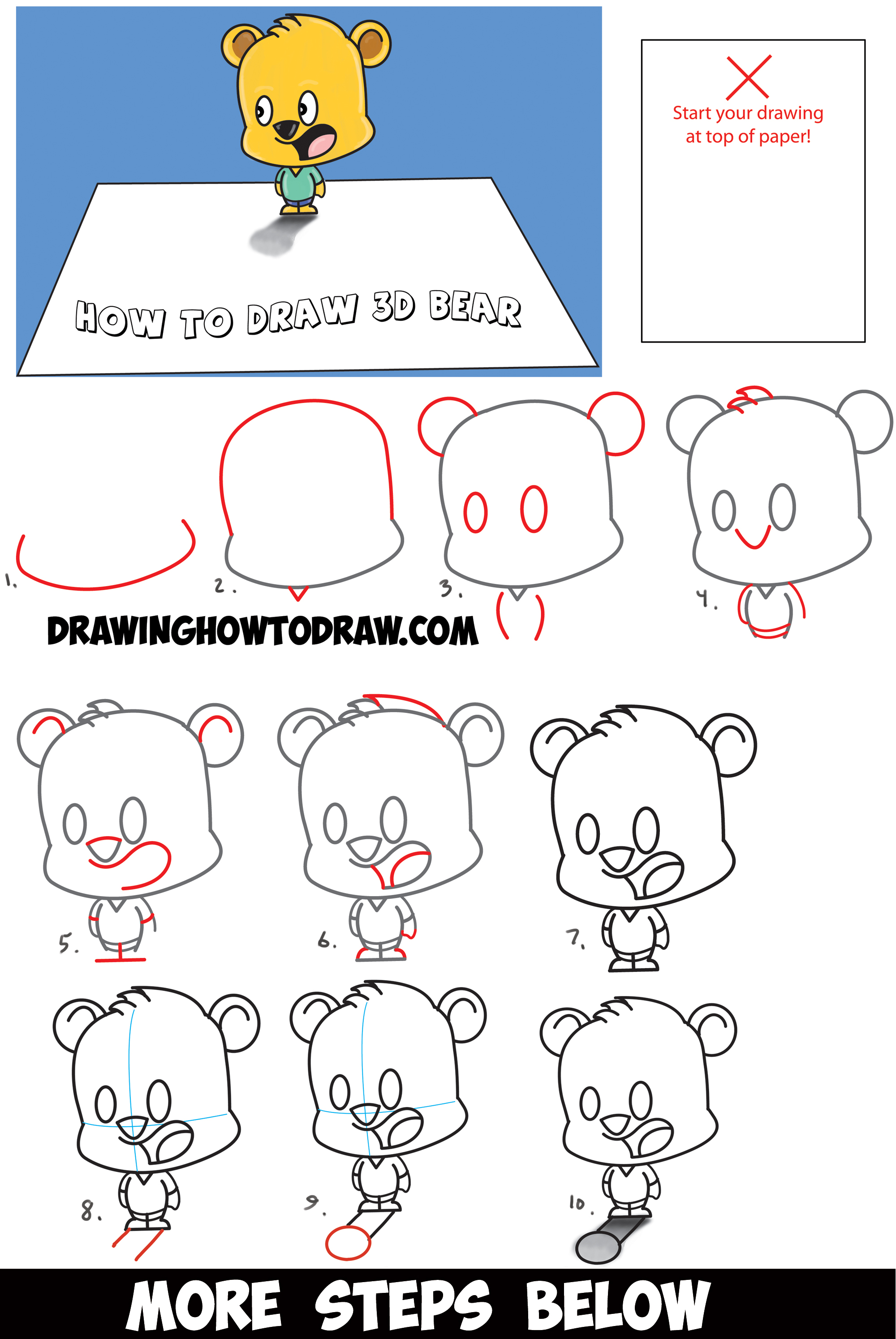 How to draw 3d cartoon bear standing on top of piece of paper optical illusion