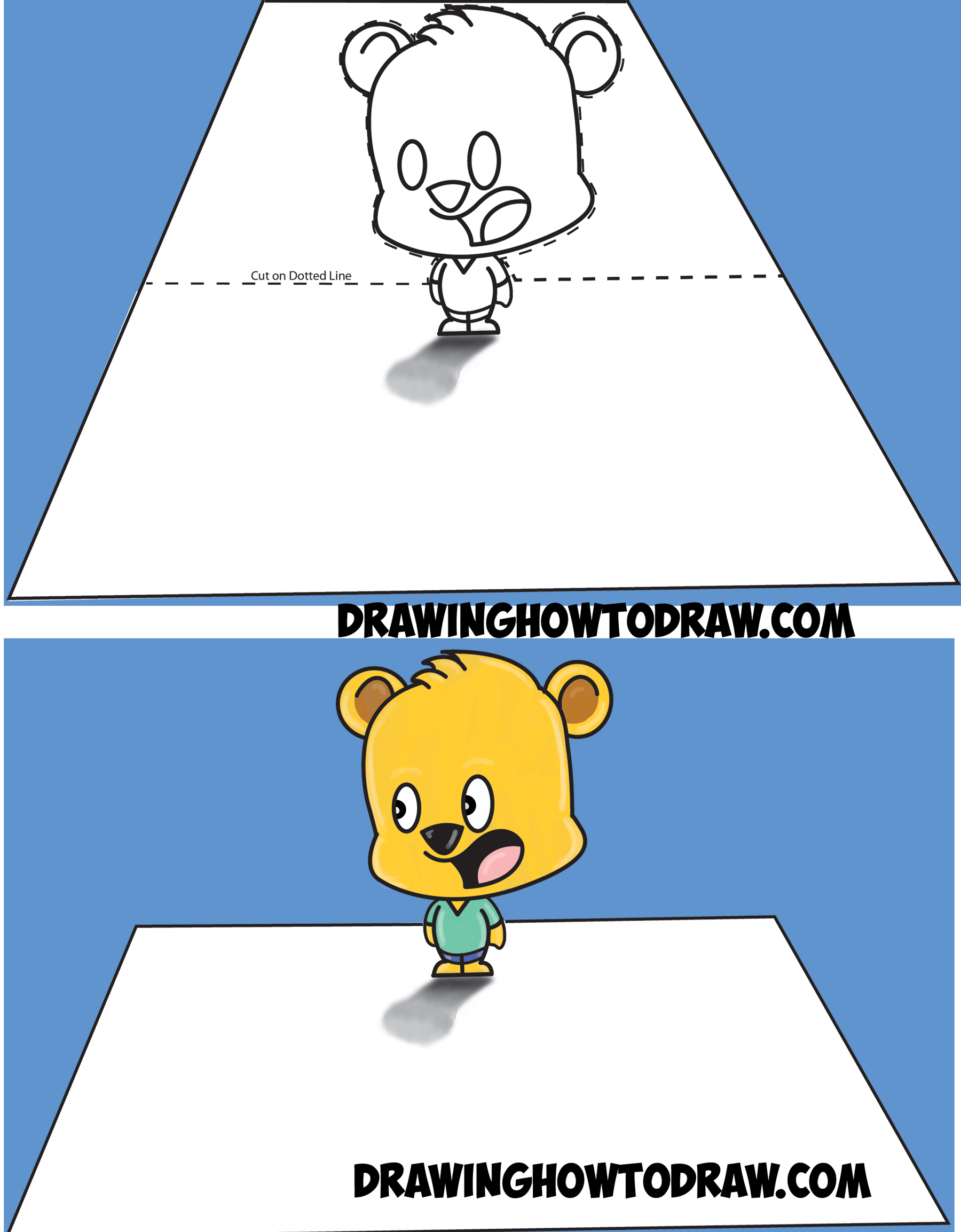 Learn how to draw 3 dimensional cartoon bear standing on top of piece of paper