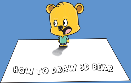 How to Draw 3D Cartoon Bear Standing on Top of Piece of Paper Optical Illusion - Easy Step by Step Drawing Tutorial for Kids and Beginners