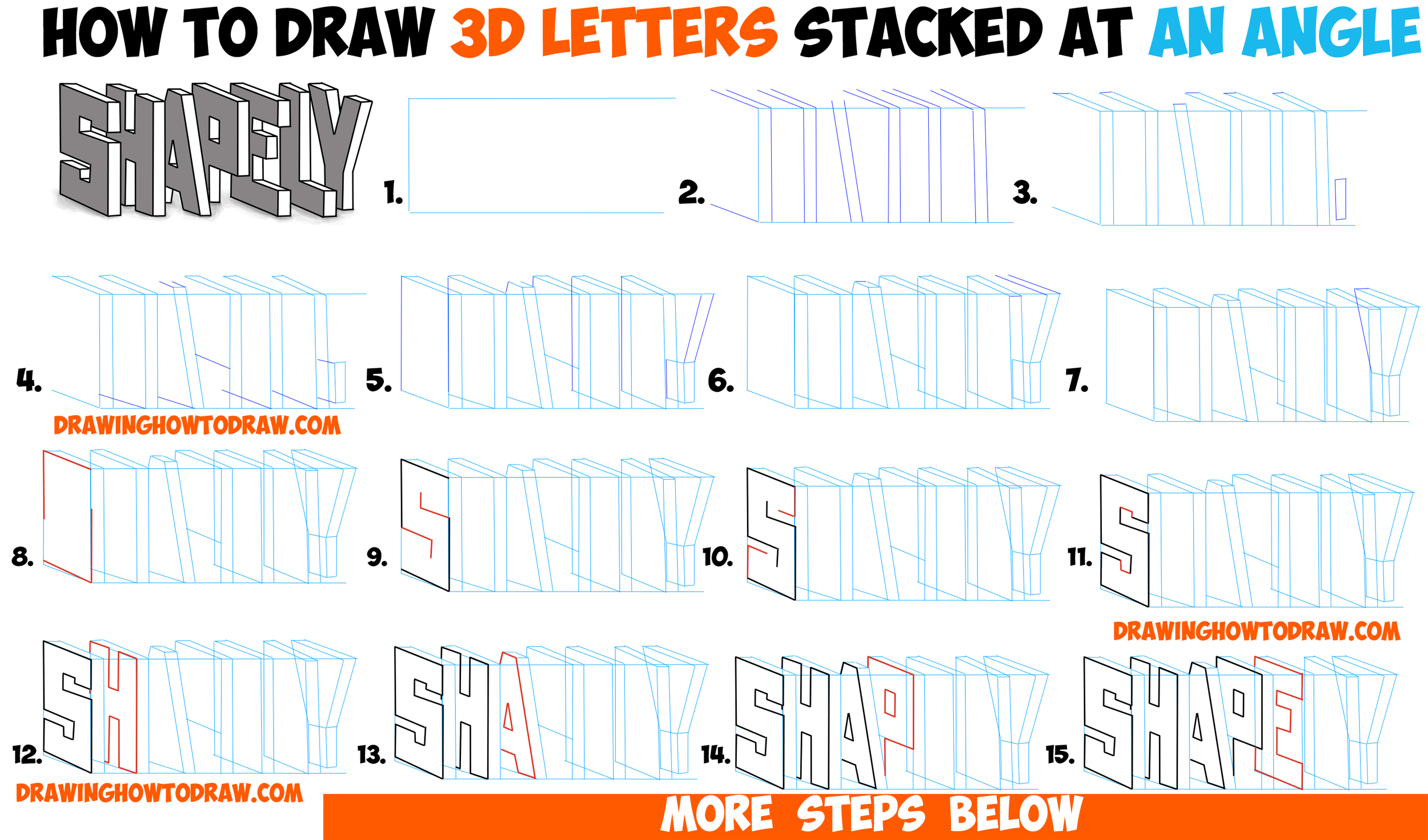 how to draw 3d letters stacked and at an angle easy step by step