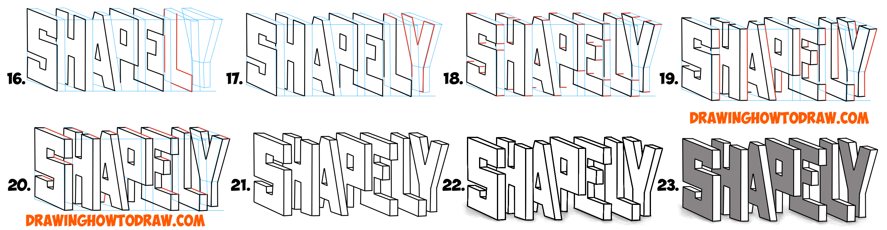 Learn How to Draw 3D Letters, Stacked and at an Angle - Simple Steps Drawing Lesson for Beginners