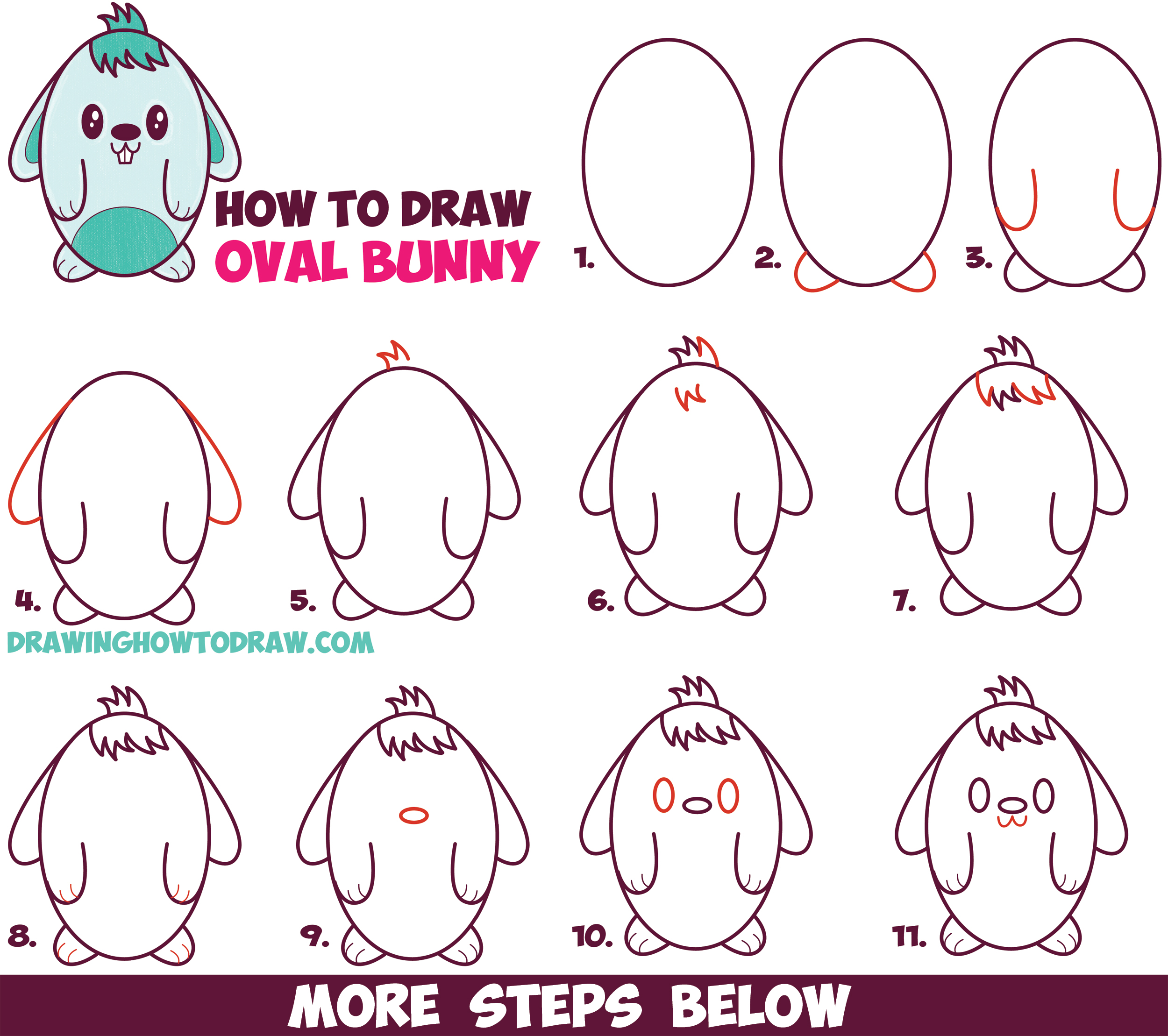 How to draw a cute cartoon bunny rabbit from an oval for How to make cartoon drawings step by step