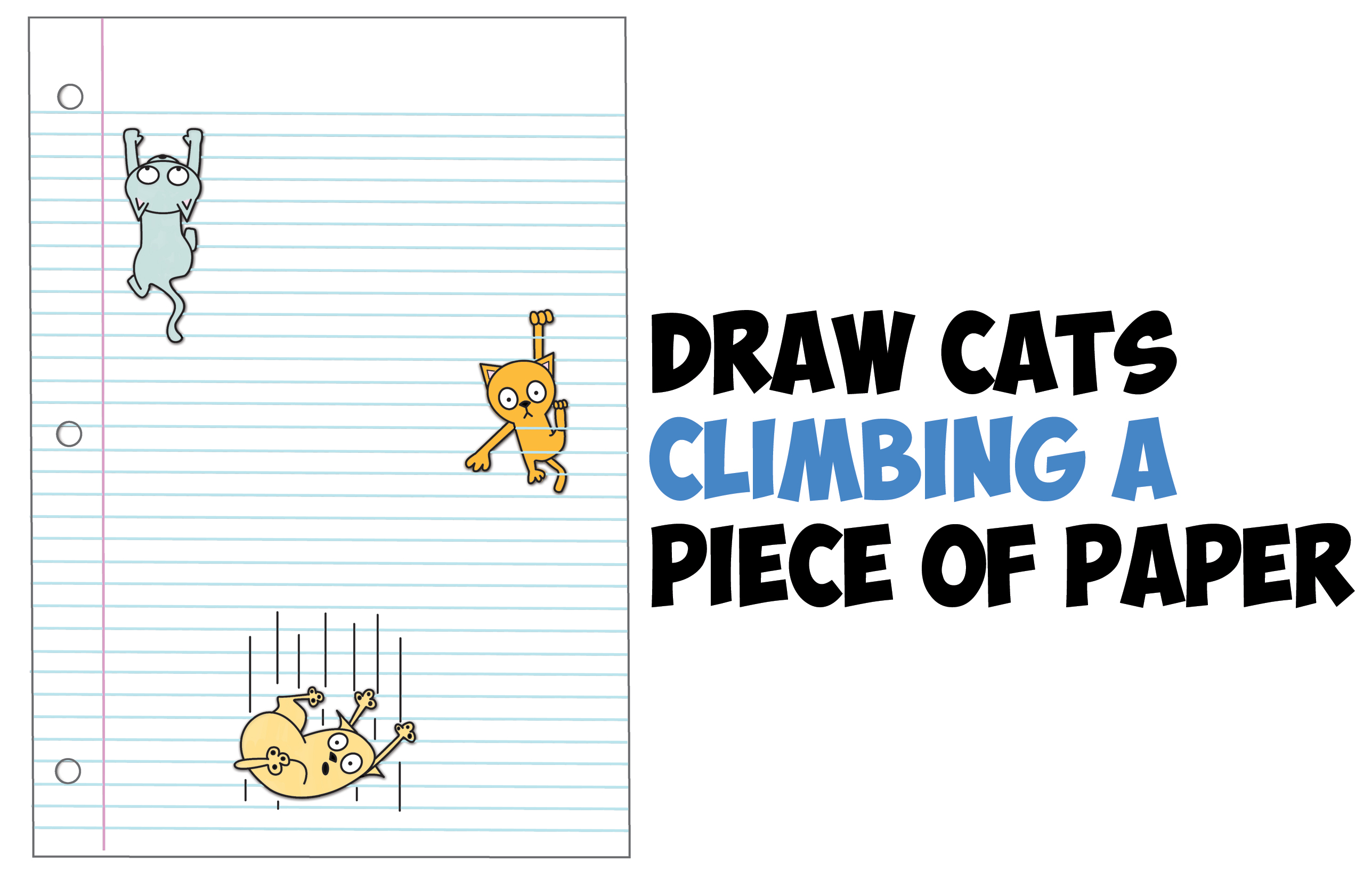 How To Draw Cartoon Cats Climbing Lined Paper 3D Optical Illusion Step By  Step Drawing Tutorial For Kids   How To Draw Step By Step Drawing Tutorials  Lined Paper With Drawing Box
