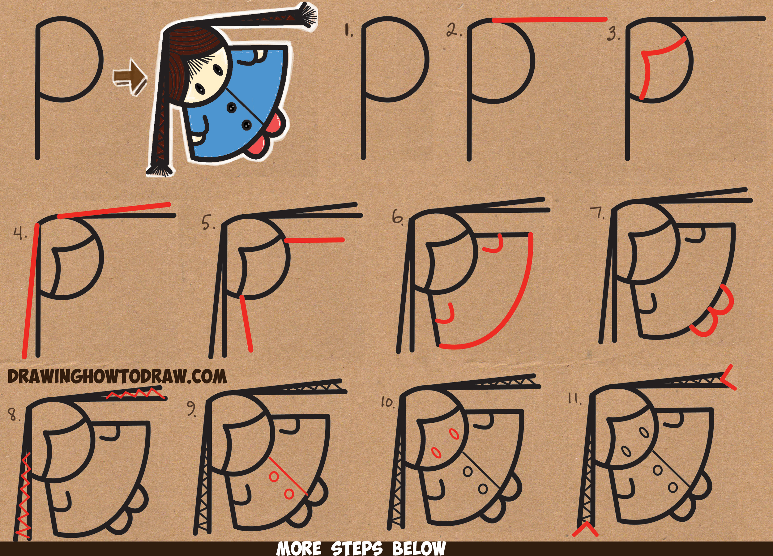 "How to Draw a Cute Cartoon Girl with Braids from Above (from the Letter ""P"" Shape) - Easy Step by Step Drawing Tutorial for Kids"