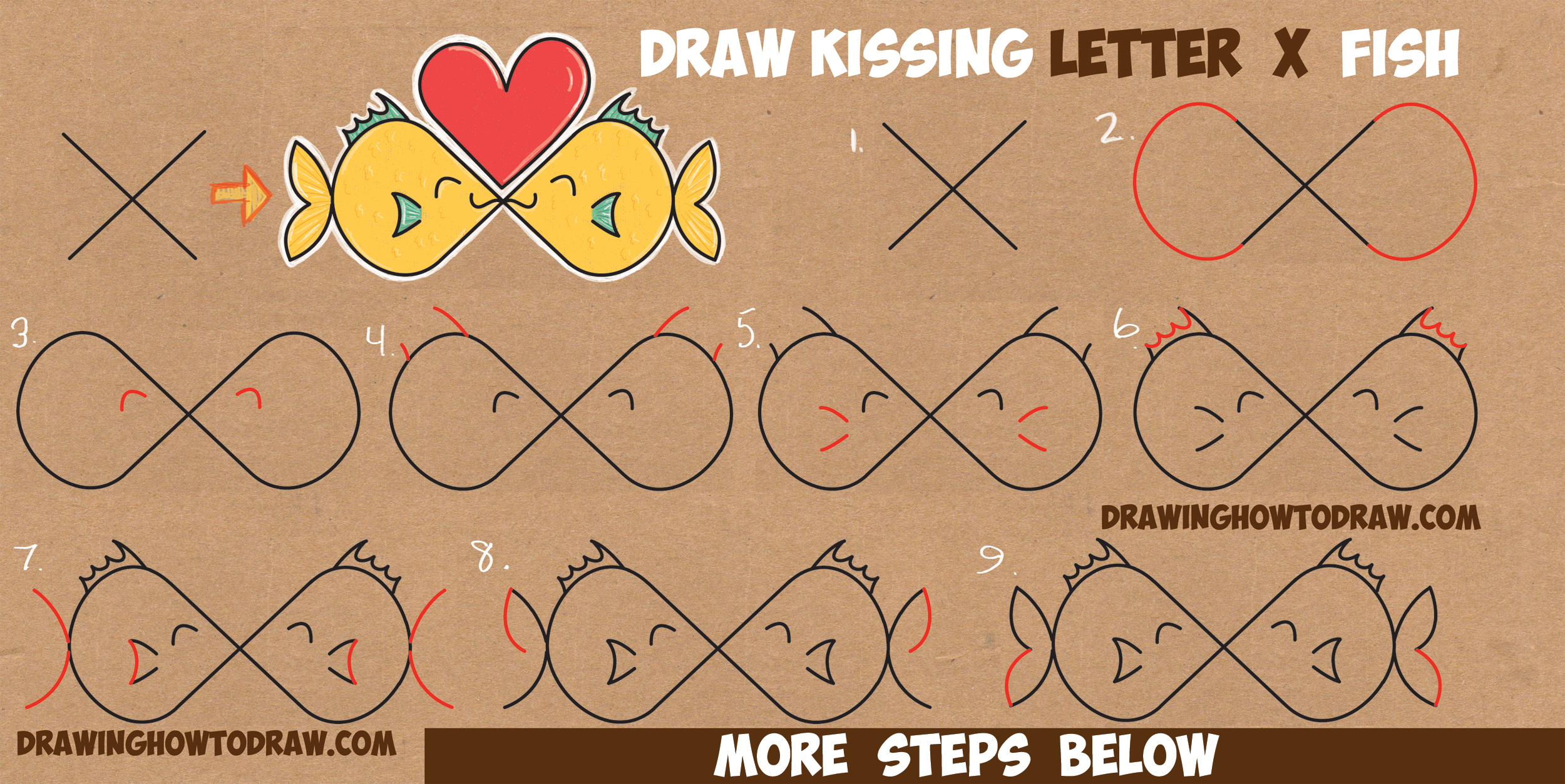 How to Draw Cartoon Fish Kissing from the Letter 'X' in Easy Step by Step Drawing Tutorial for Kids