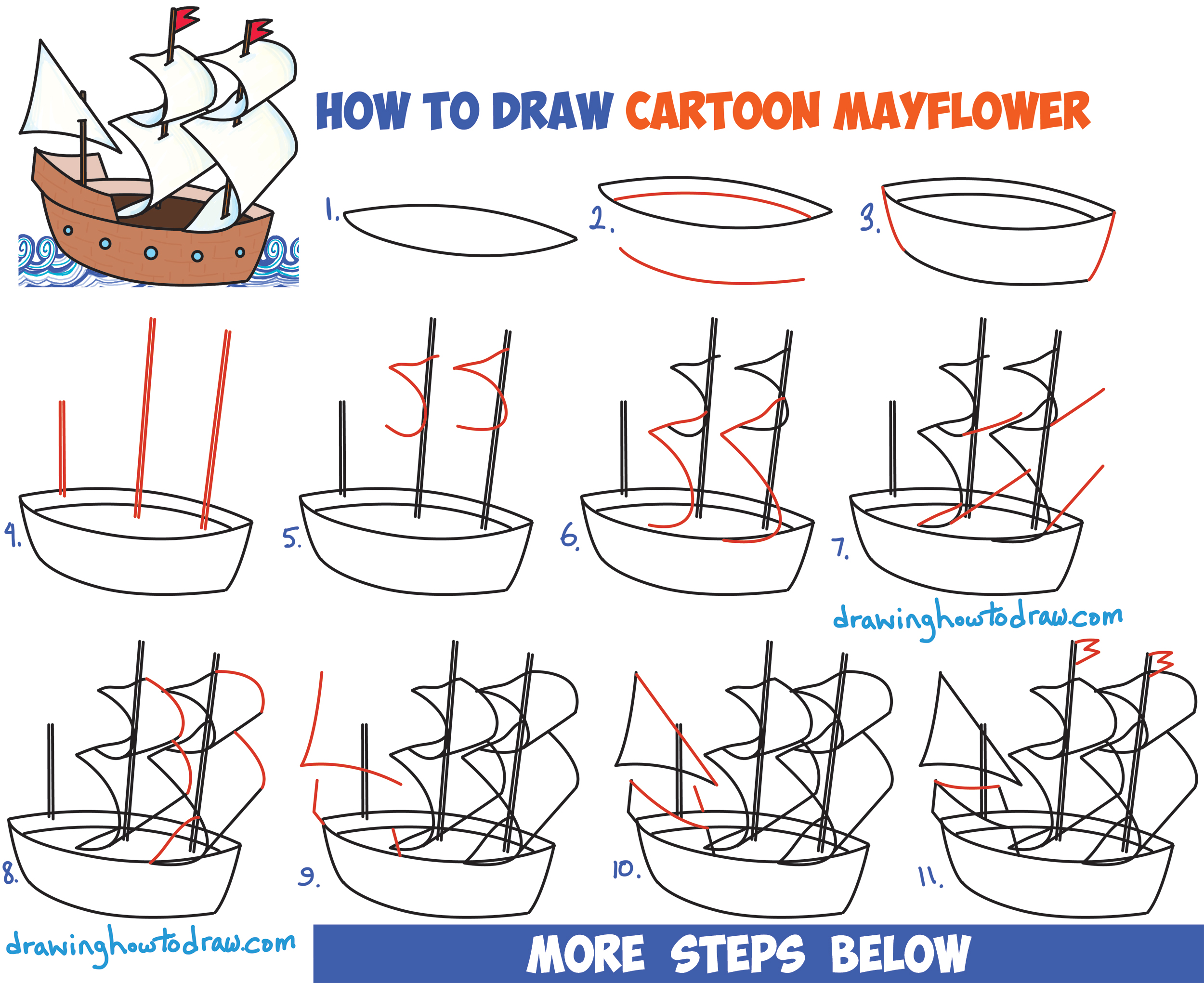 How to draw cartoon mayflower ship for thanksgiving easy for Learn drawing online step by step