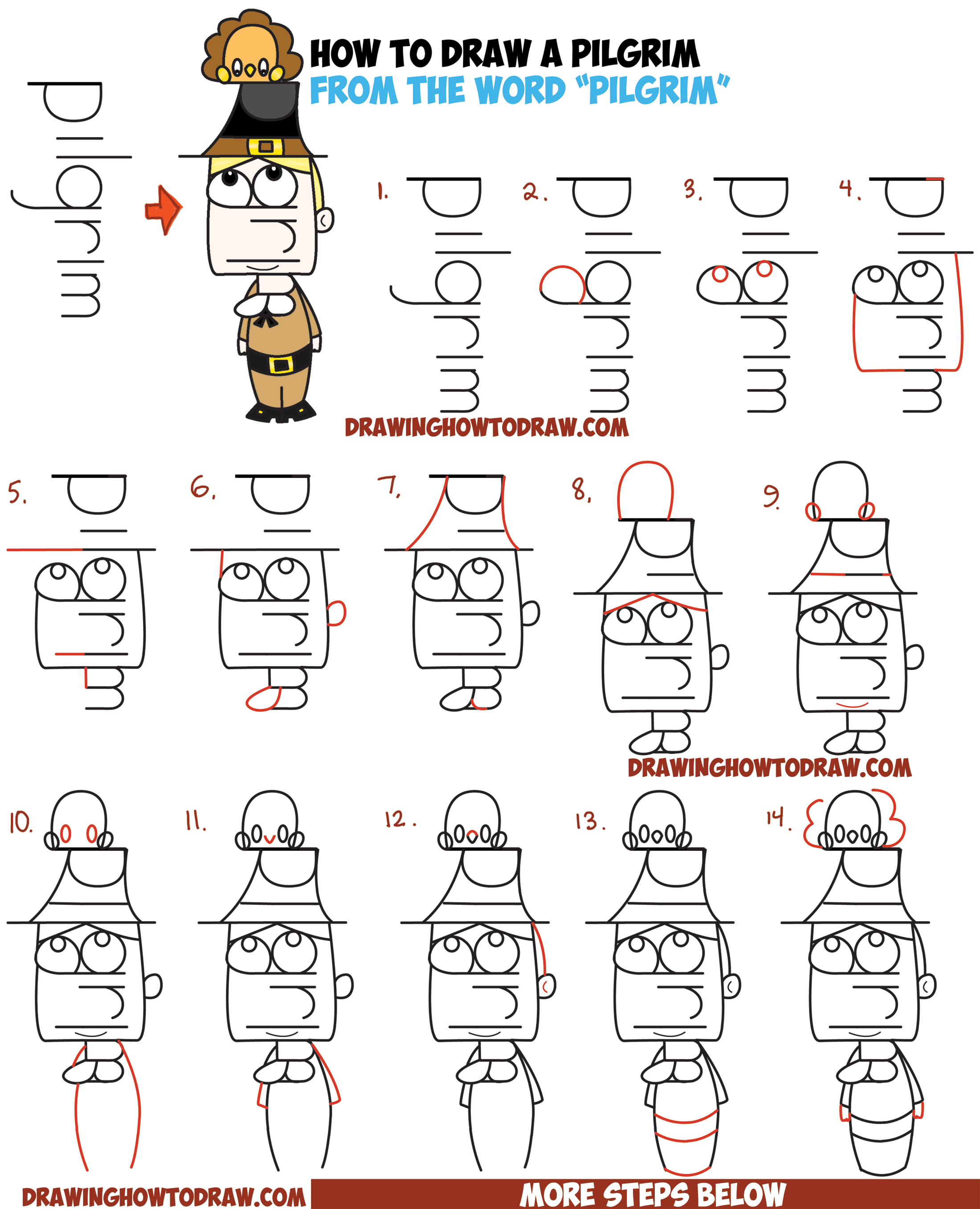 How to Draw a Cartoon Pilgrim from the Word (Word Toon) Easy Step by Step Drawing Tutorial for Kids on Thanksgiving
