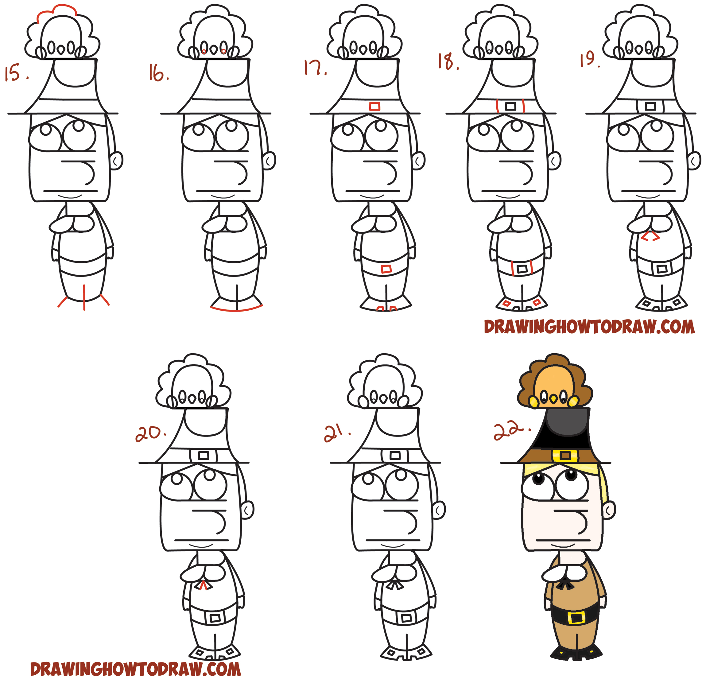 Learn How to Draw a Cartoon Pilgrim from the Word (Word Cartoon) Simple Steps Drawing Lesson for Kids on Thanksgiving