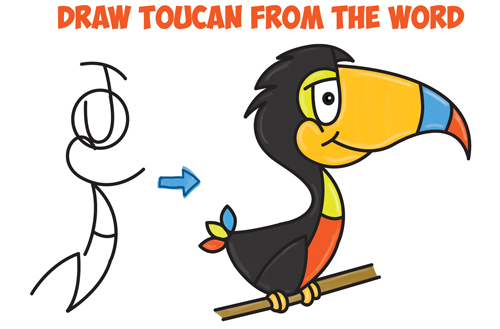 How to Draw Cartoon Toucans from the Word - Easy Step by Step Drawing Tutorial for Kids (Word Toons / Cartoons)
