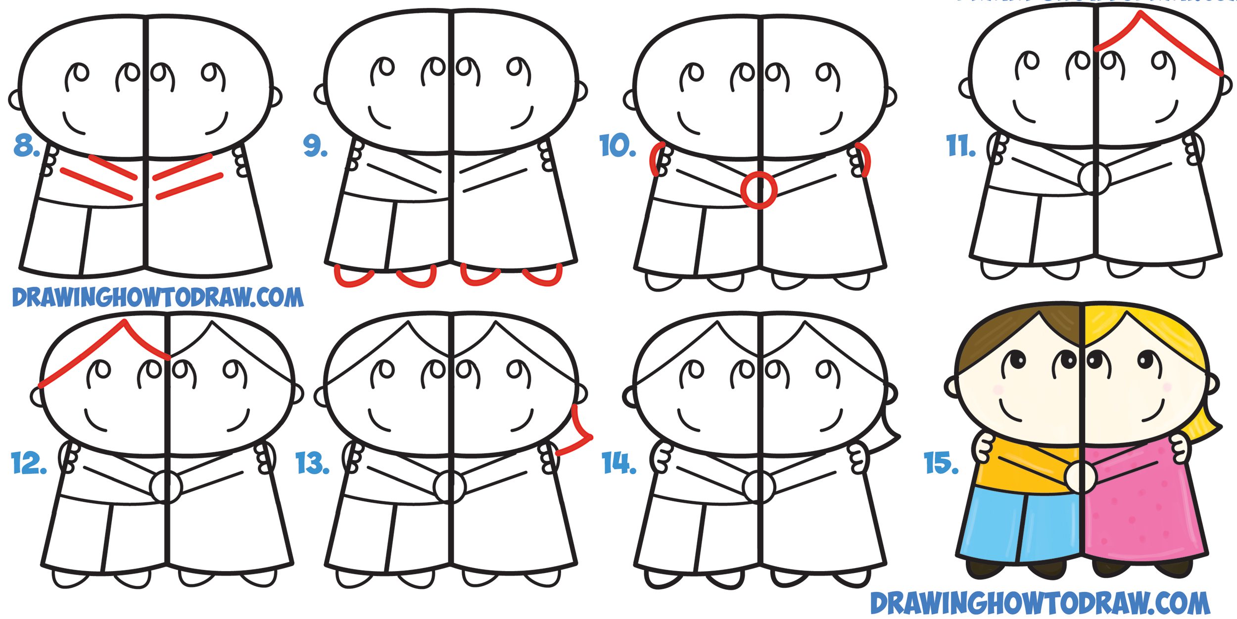 "Learn How to Draw Cartoon Couple (Man and Woman) Hugging from Letter ""R"" Shapes Simple Steps Drawing Lesson for Kids"