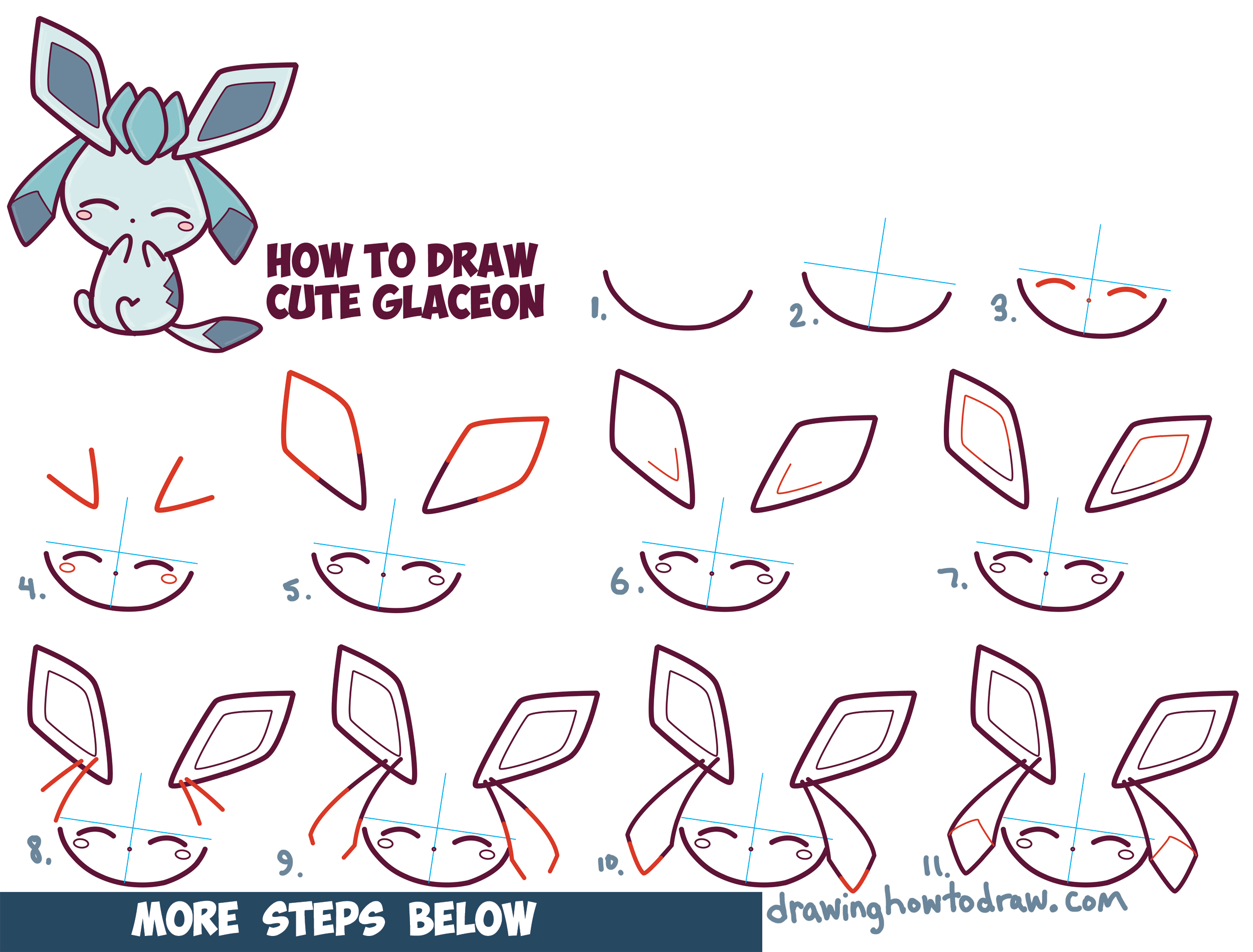 Pokemon glaceon cute images pokemon images for Step by step art for beginners