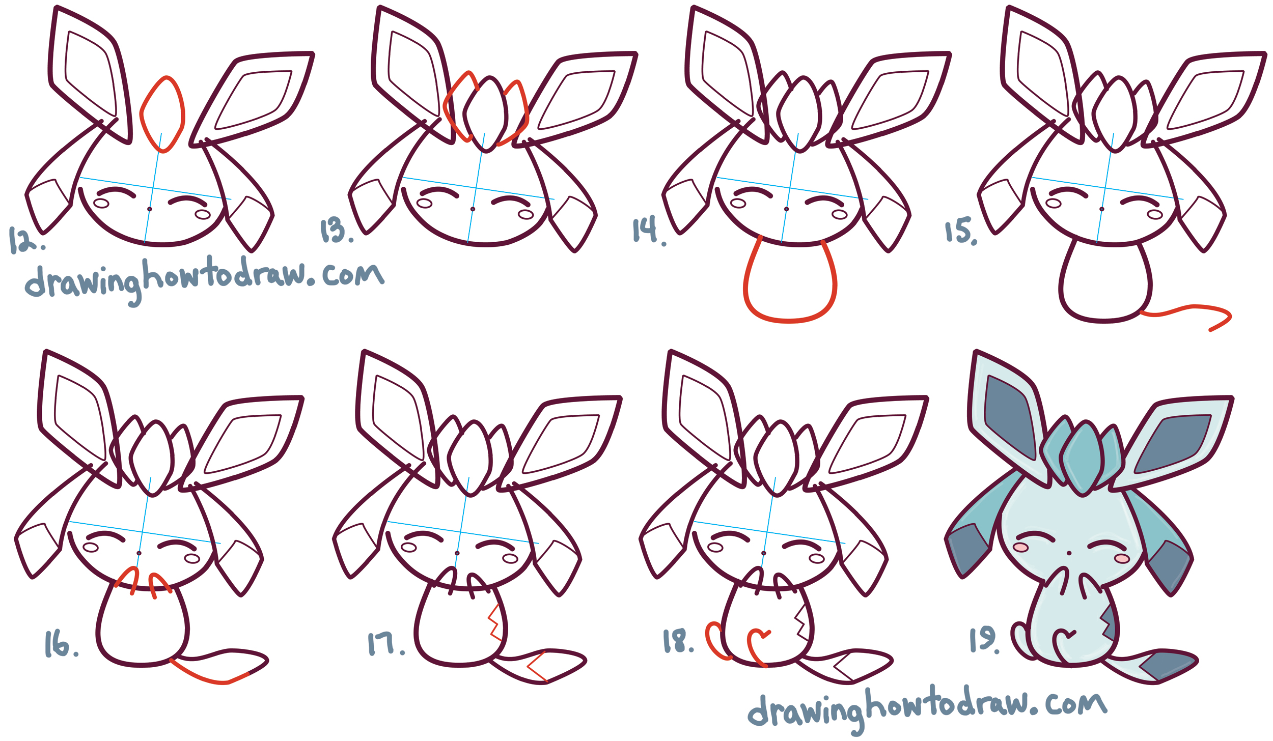 Learn How to Draw Cute Kawaii Chibi Glaceon from Pokemon in Simple Steps Drawing Lesson for Kids