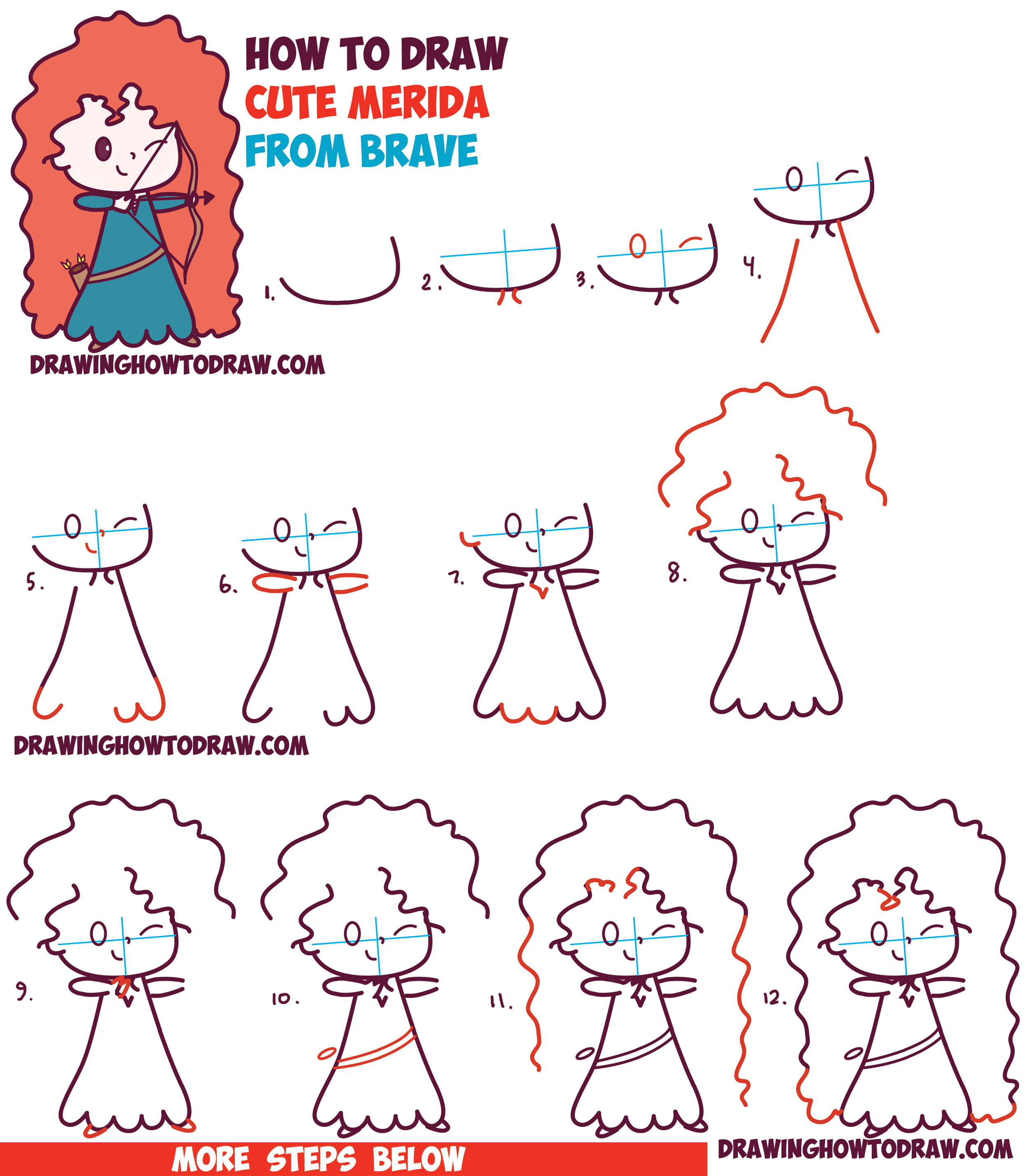 Uncategorized Disney Drawings Step By Step how to draw cute kawaii chibi merida from disney pixars brave in easy step by step