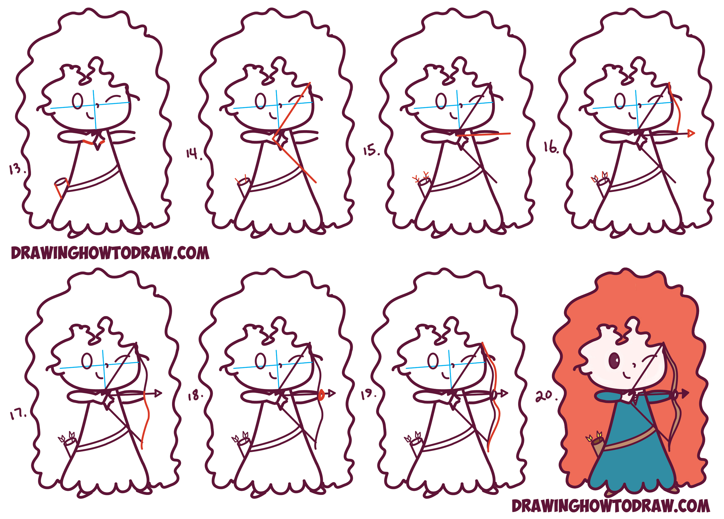 Learn How to Draw Cute Kawaii Chibi Merida from Disney Pixar's Brave in Simple Steps Drawing Lesson for Beginners